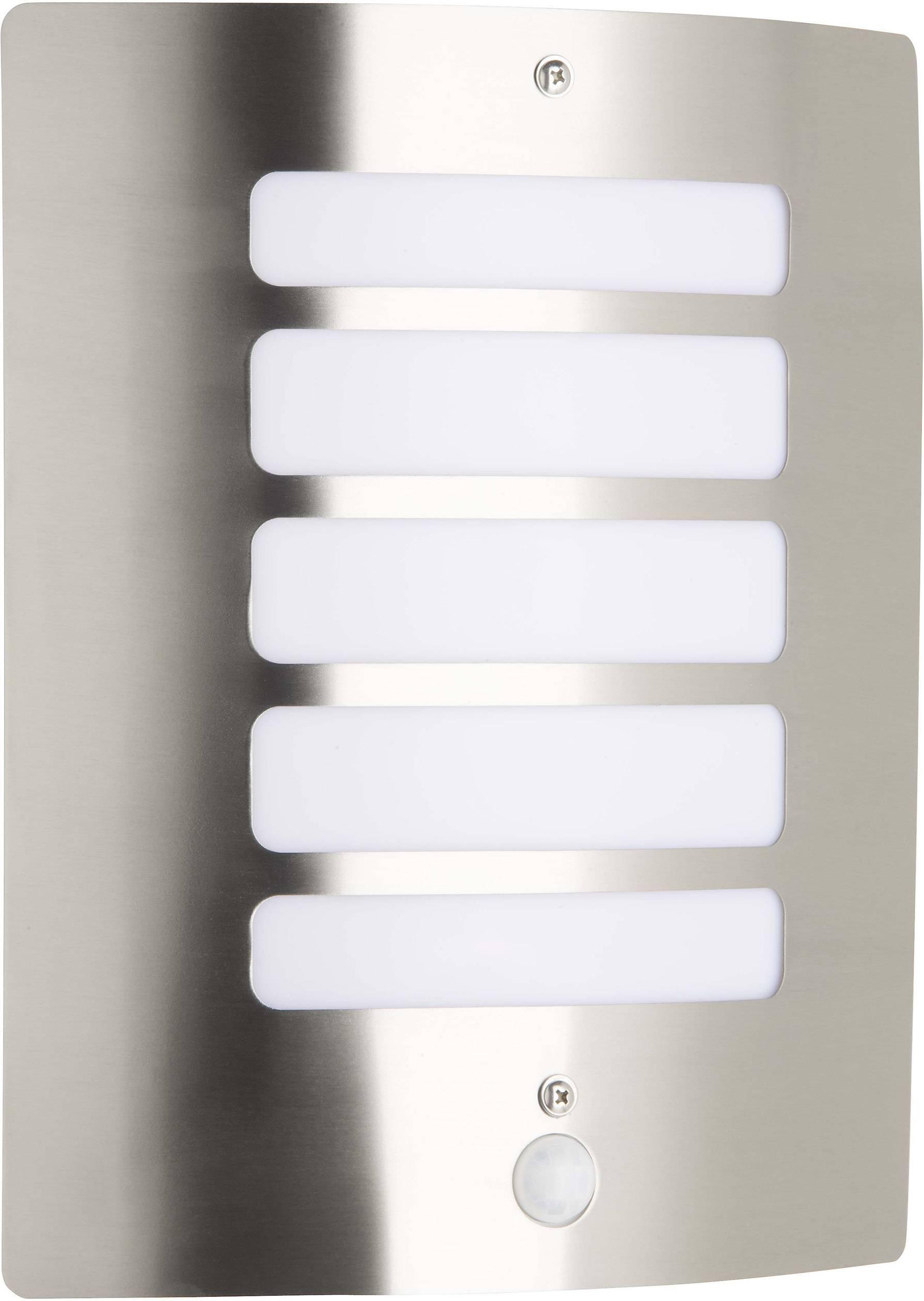 Venkovní nástěnné osvětlení s PIR detektorem Brilliant Todd 47698/82, E27, 60 W, kov, plast, nerezová ocel