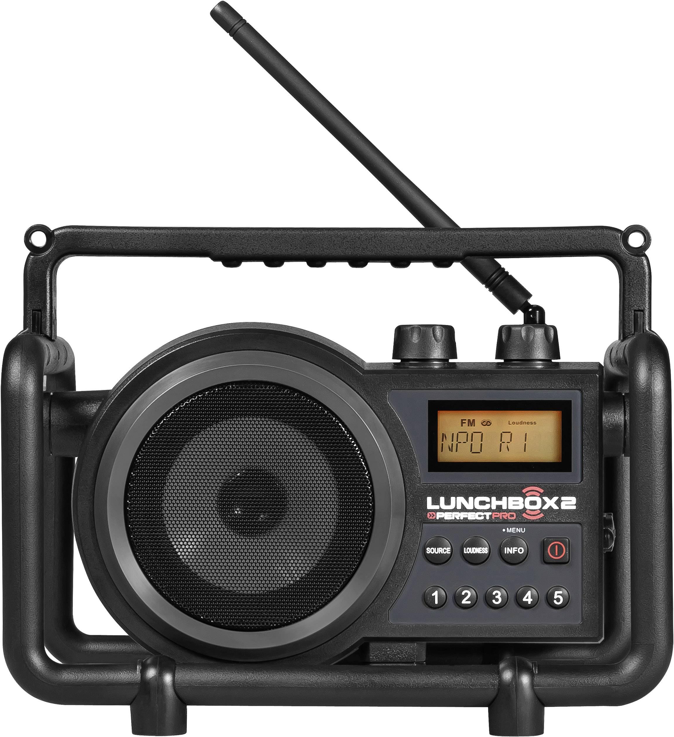 FM outdoorové rádio PerfectPro Lunchbox 2, AUX, SV, FM, černá