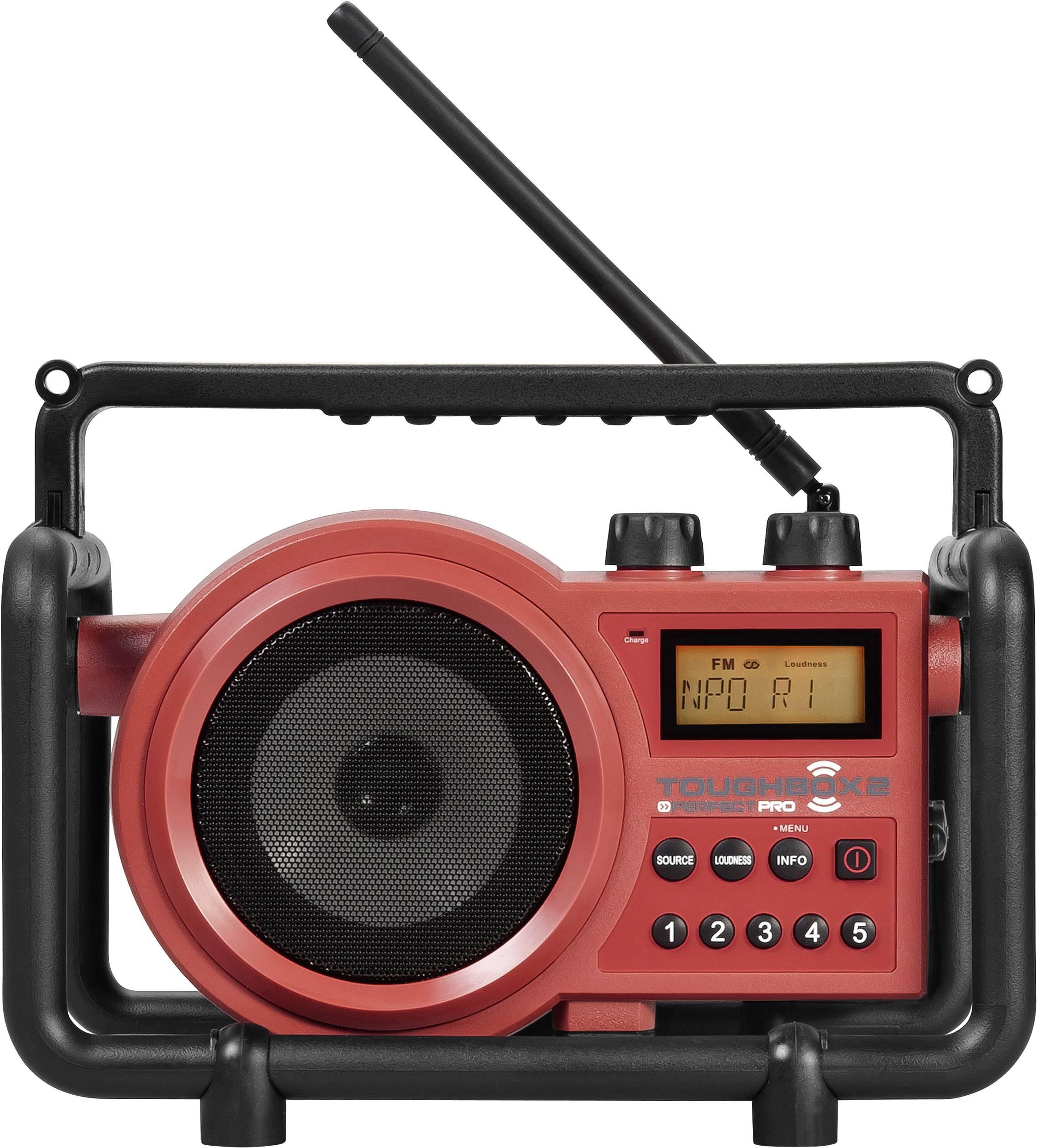 FM outdoorové rádio PerfectPro Toughbox 2, AUX, SV, FM, červená