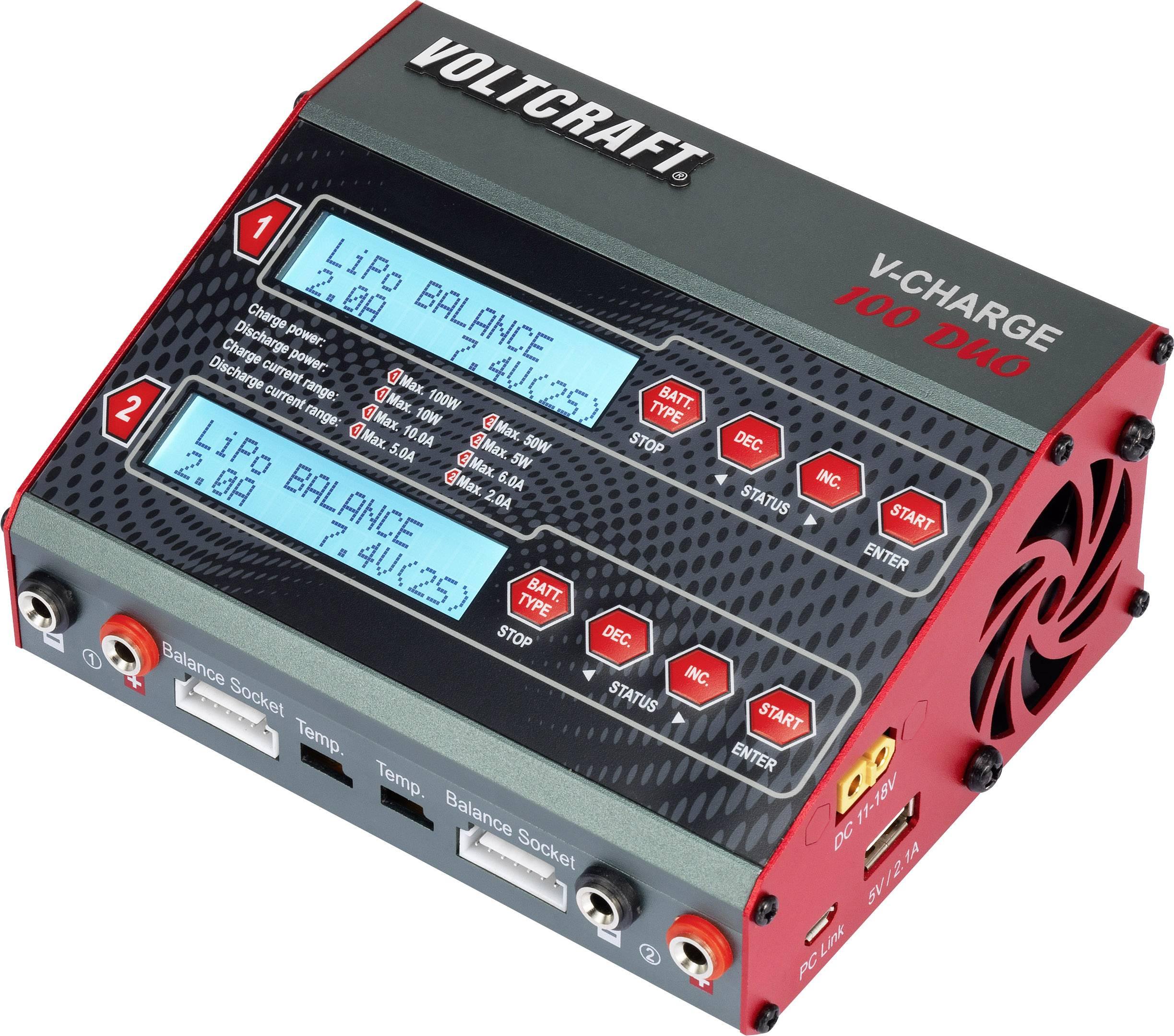 Modelářská multifunkční nabíječka VOLTCRAFT V-Charge 100 Duo 1388391, 12 V, 230 V, 10 A