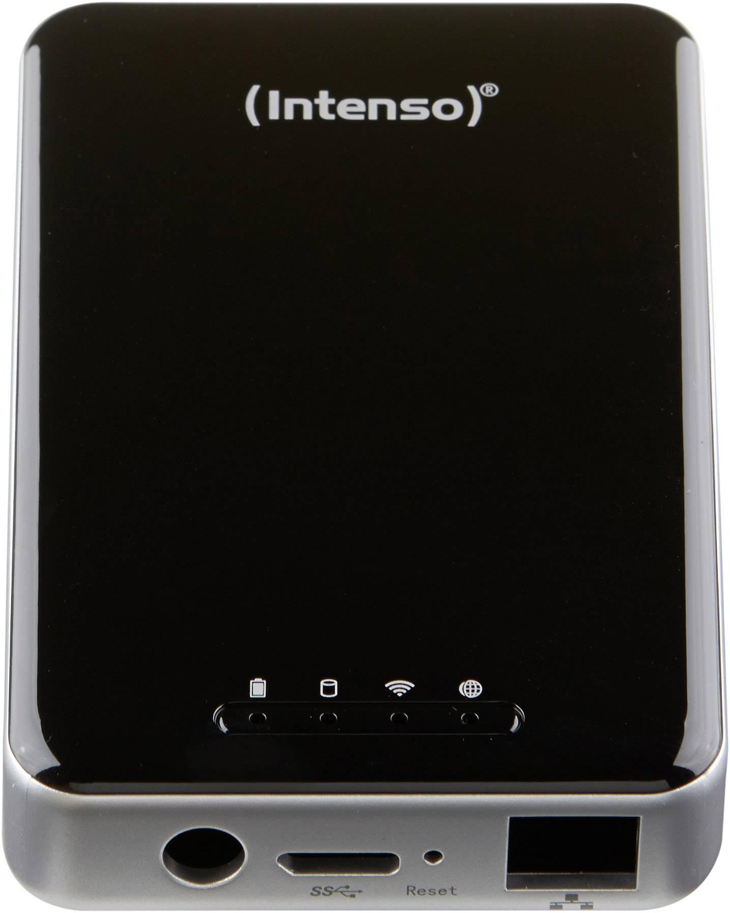 Wi-Fi pevný disk Intenso 6025860, 1 TB, USB 3.0, LAN (10/100 Mbit / s), Wi-Fi 802.11 b/g/n, čierna