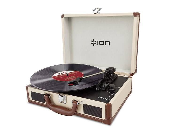 USB gramofón ION Audio VINYL MOTION DELUXE CREAM s remienkovým náhonom, krémová
