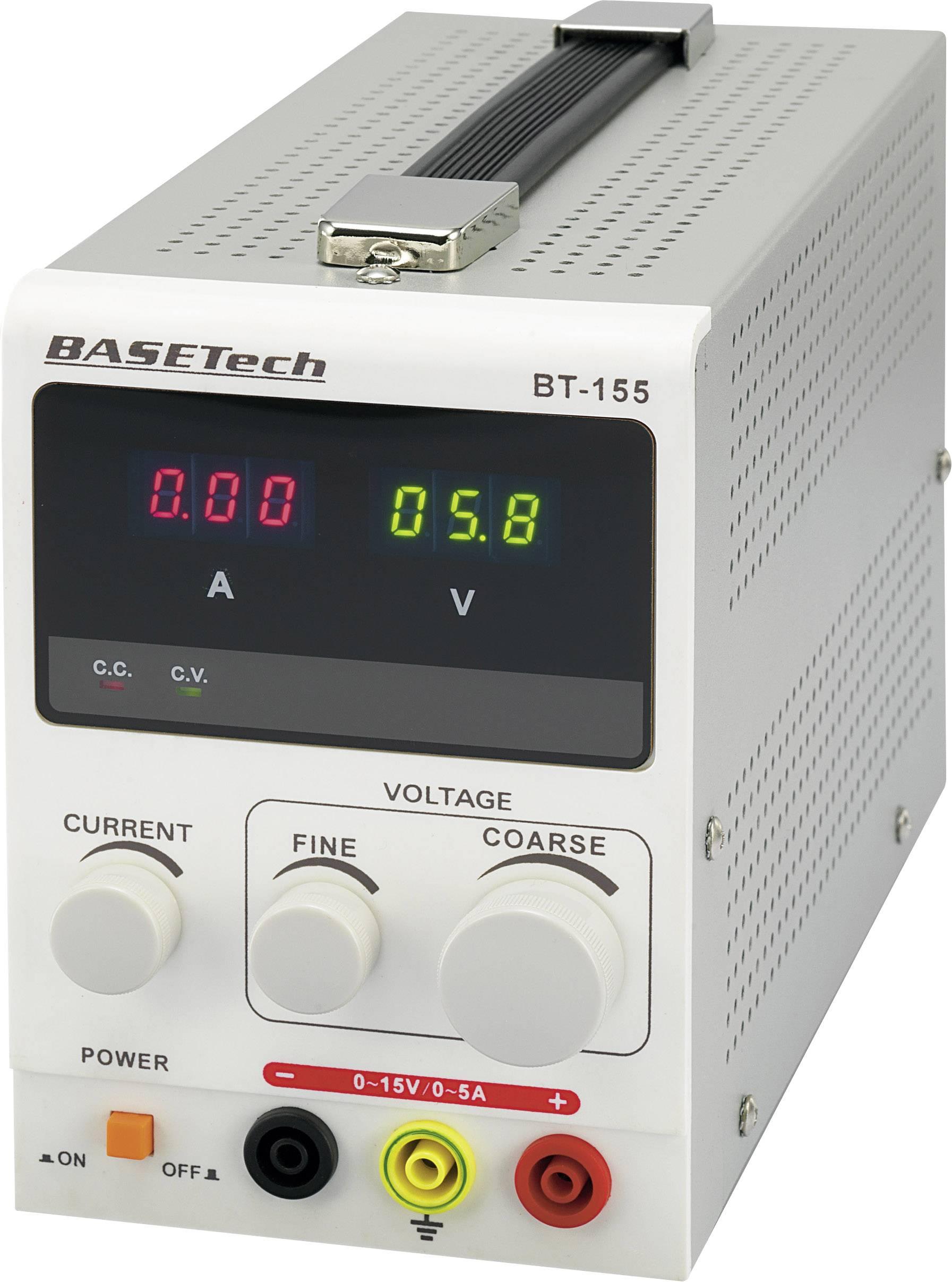 Laboratórny zdroj s nastaviteľným napätím Basetech BT-155, 0 - 15 V/DC, 0 - 5 A, 75 W