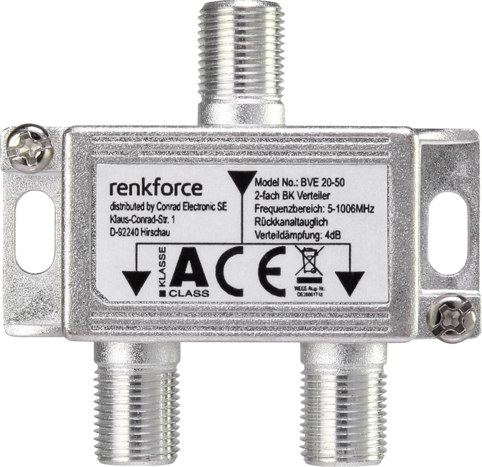 TV/SAT anténny rozbočovač RENKFORCE 2 výstupy