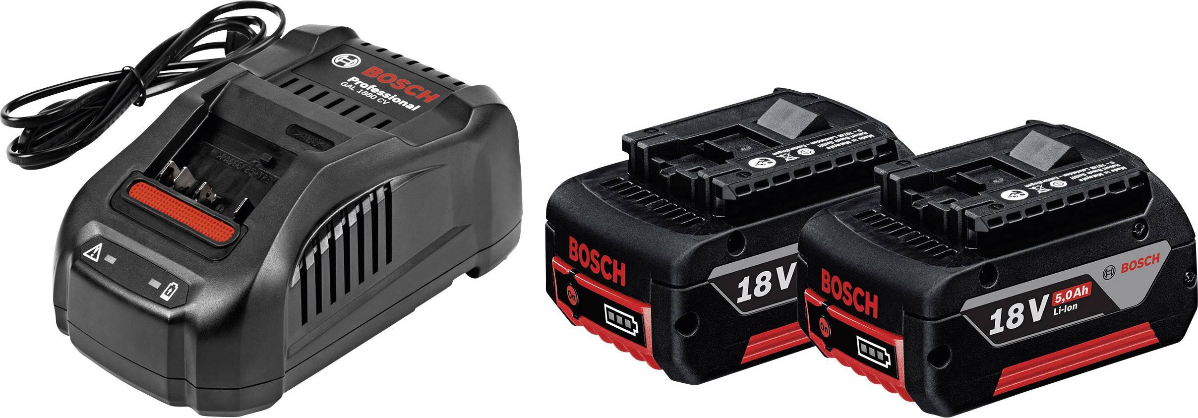 Náhradní akumulátor pro elektrické nářadí, Bosch Professional GBA + GAL 1880 CV 1600A00B8J, 18 V, 5 Ah, Li-Ion akumulátor
