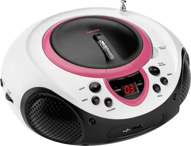FM CD rádio Lenco SCD-38 USB, AUX, CD, FM, USB, růžová