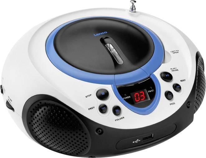 FM CD rádio Lenco SCD-38 USB, AUX, CD, FM, USB, modrá