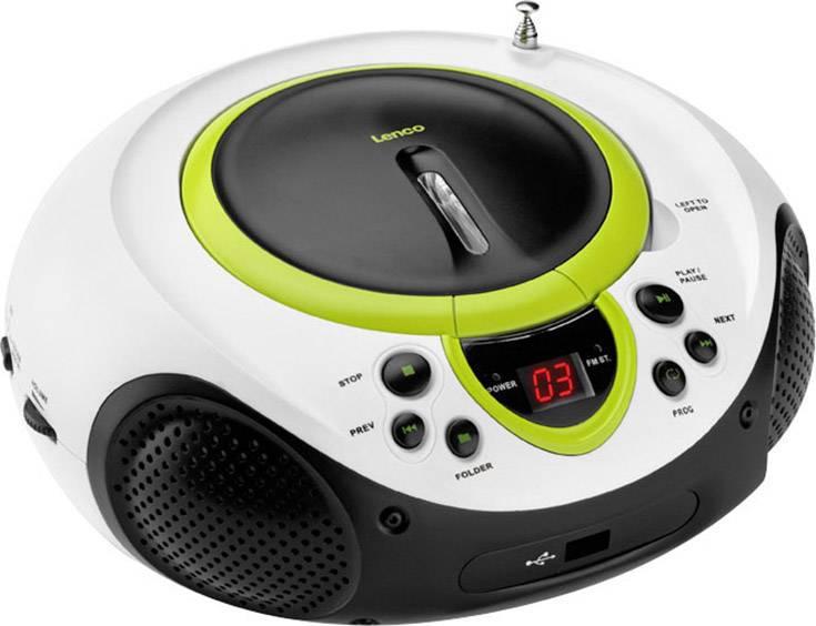 FM CD rádio Lenco SCD-38 USB, AUX, CD, FM, USB, zelená