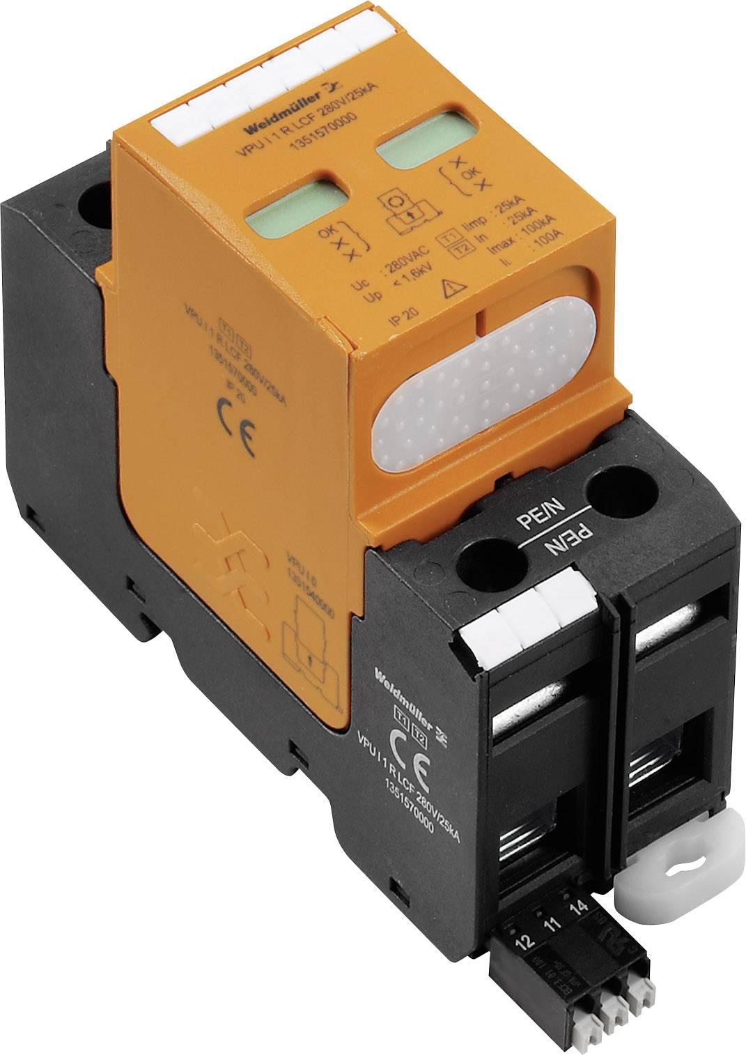 Zvodič pre prepäťovú ochranu Weidmüller VPU I 1 R LCF 280 V/25 KA 1351570000, 25 kA