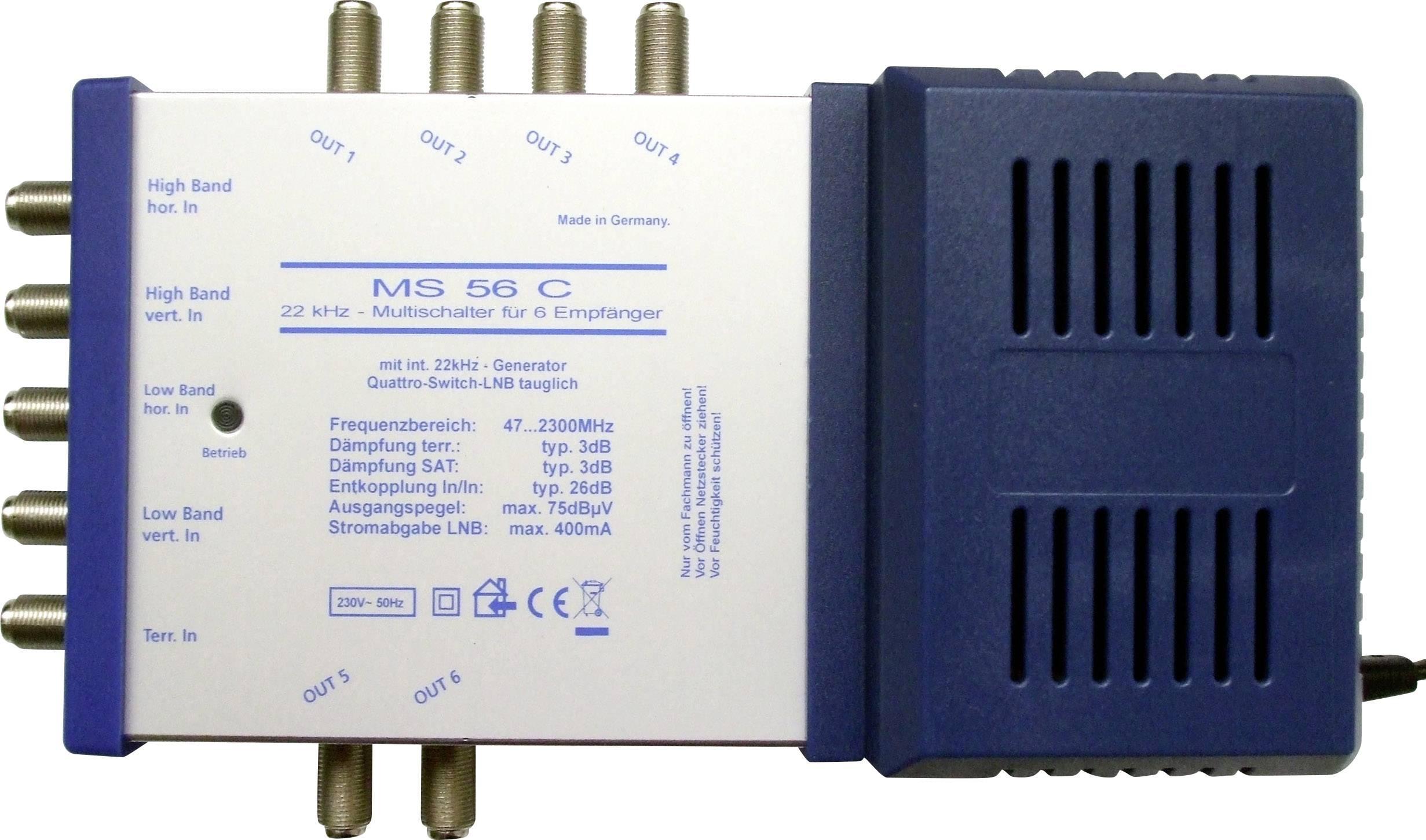 SAT multiswitch (multispínač) RENKFORCE MS56C, vstupy 4 SAT / 1 terestriál, výstup 6