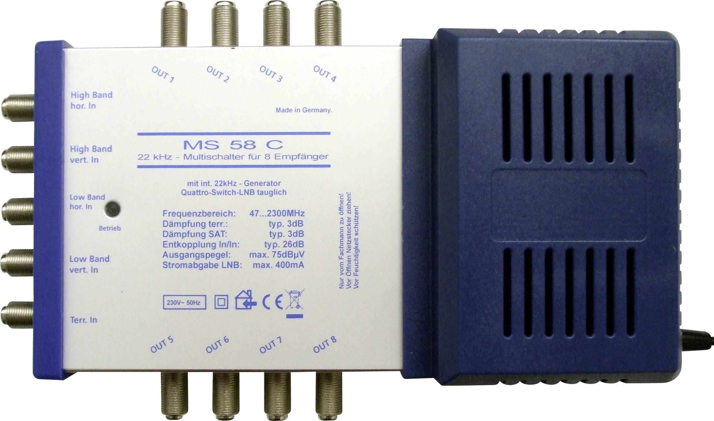 SAT multiswitch (multispínač) RENKFORCE MS58C, vstupy 4 SAT / 1 terestriál, výstup 8