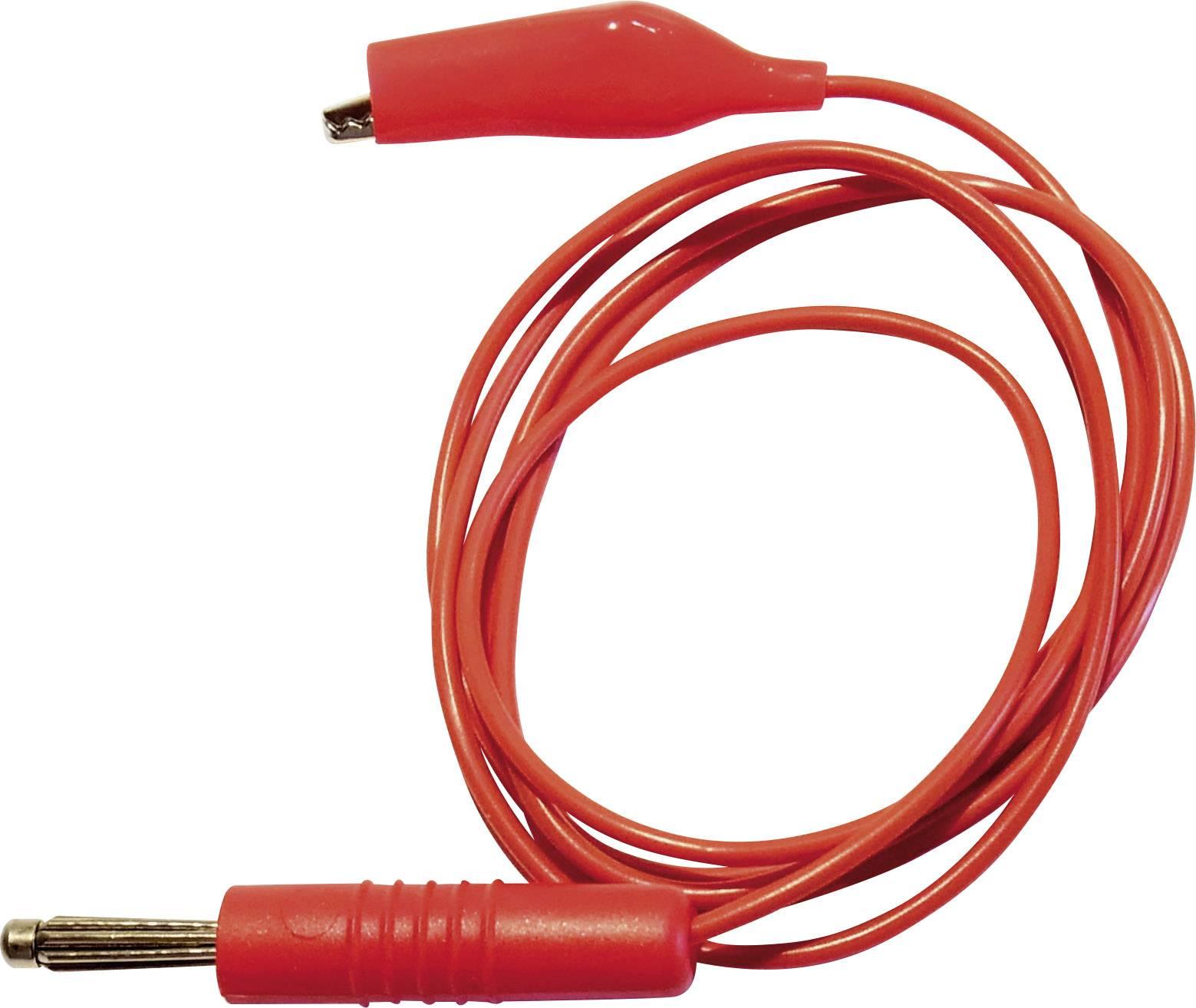 Merací vodič Schnepp s krokosvorkou a 4 mm banánikom, červený