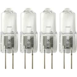 Halogénová žiarovka Sygonix 12 V, G4, 10 W, en.trieda: C (A ++ - E), teplá biela, 4 ks