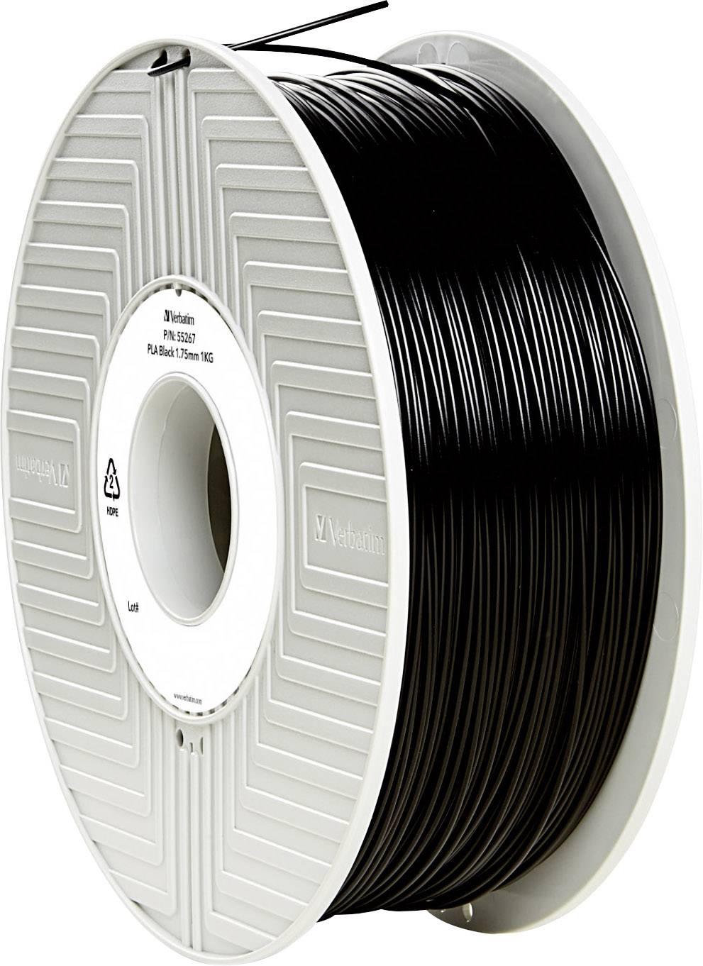 Vlákno pre 3Dtlačiarne, Verbatim 55267, PLA plast , 1.75 mm, 1 kg, čierna