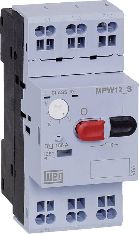 Ochranný spínač motora nastaviteľné WEG MPW12-3-D063S 12500995, 6.3 A, 1 ks