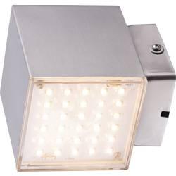 LED vonkajšie nástenné osvetlenie 7 W teplá biela Heitronic Kubus 35272 nerezová oceľ