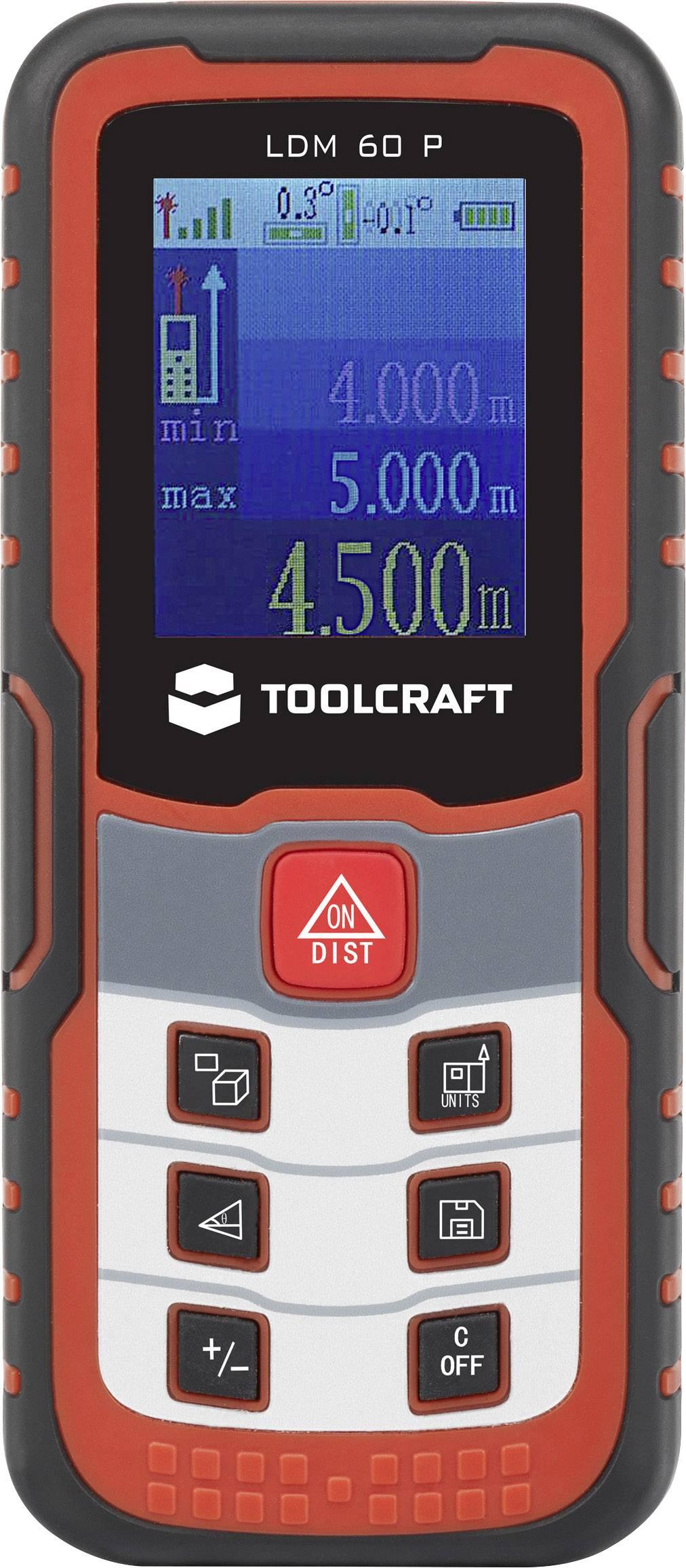 Laserový měřič vzdálenosti TOOLCRAFT LDM 60 J 1400305, max. rozsah 60 m