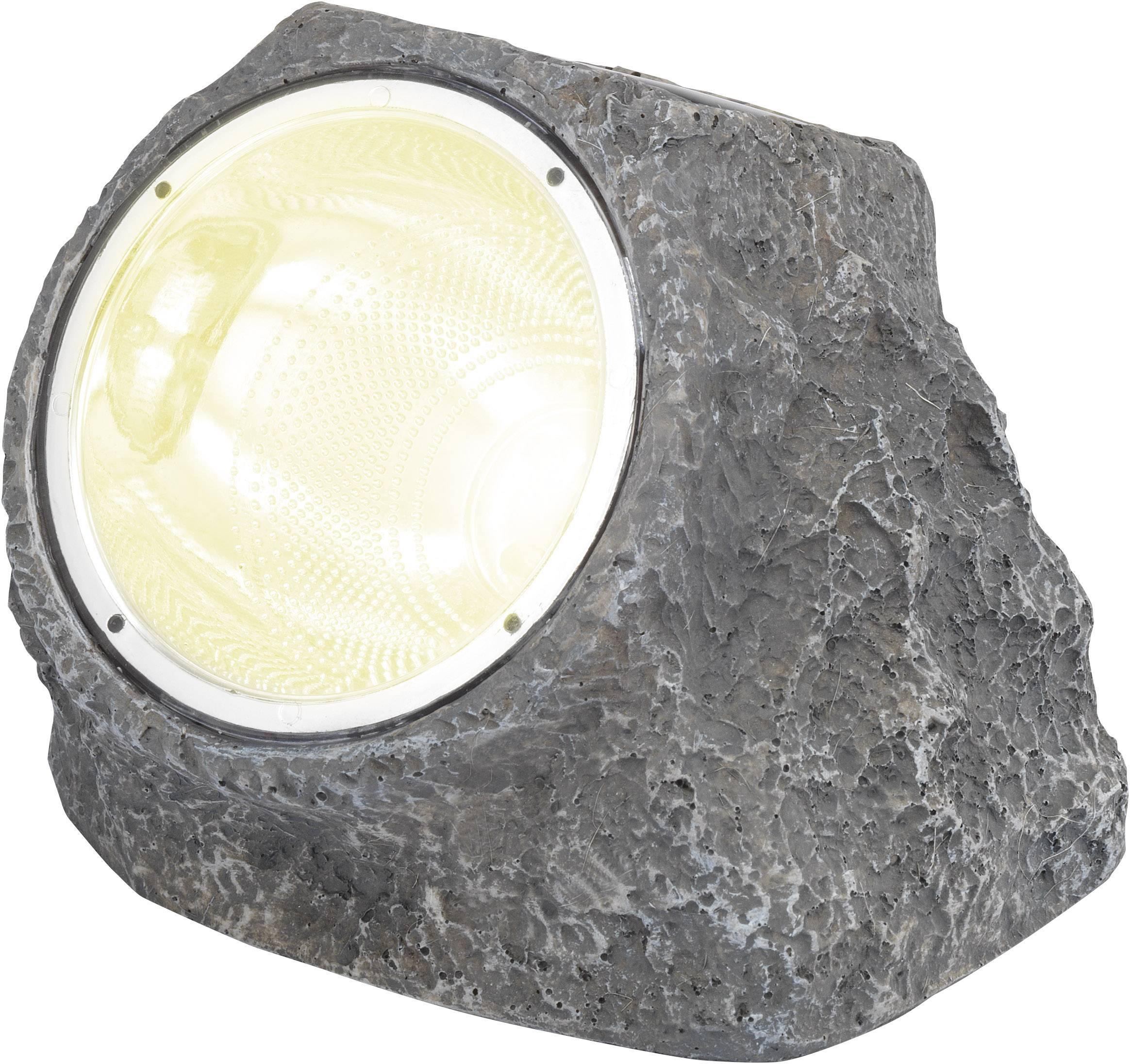 LED solárne dekoračné osvetlenie kameň Renkforce IP44, sivá, biela
