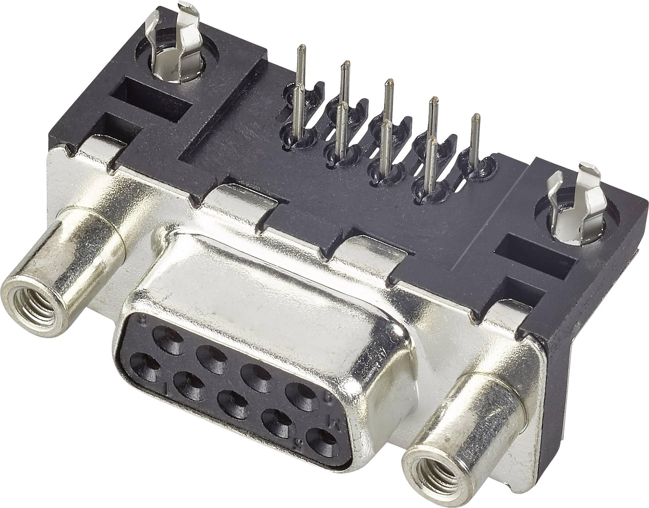 D-SUB zásuvková lišta FCI D-SUB, 90 °, počet pinov 9, tlačené, 1 ks
