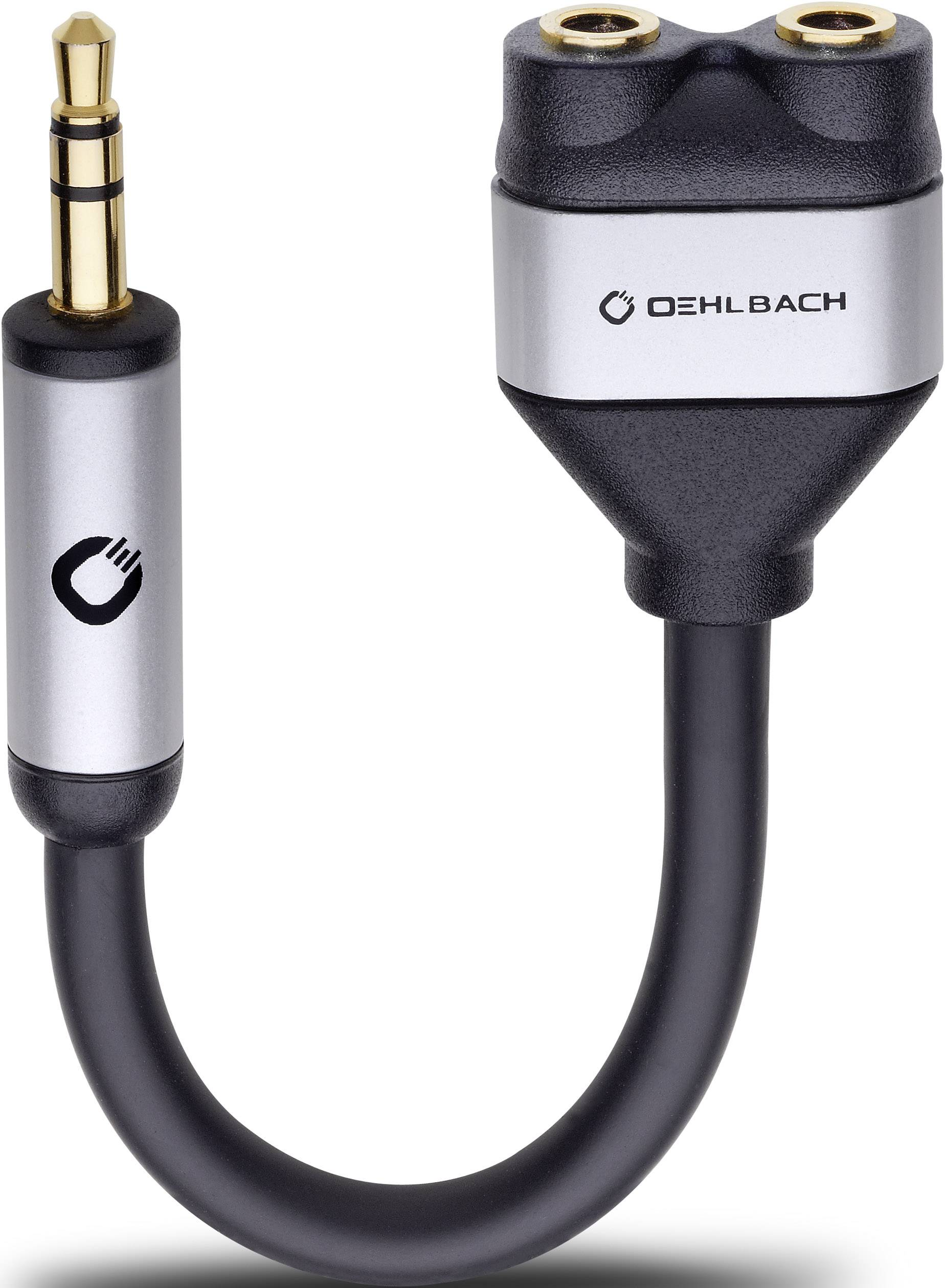 Jack audio Y adaptér Oehlbach 60021, čierna