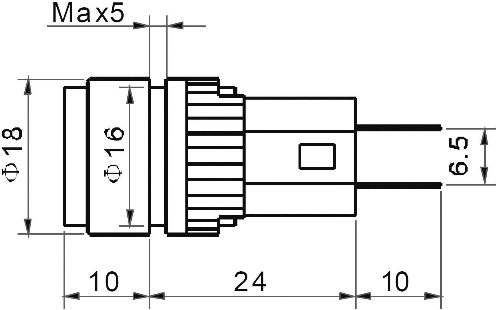 LED signálka AD16-16A/24V/B, 24 V/DC / 24 V/AC, modrá