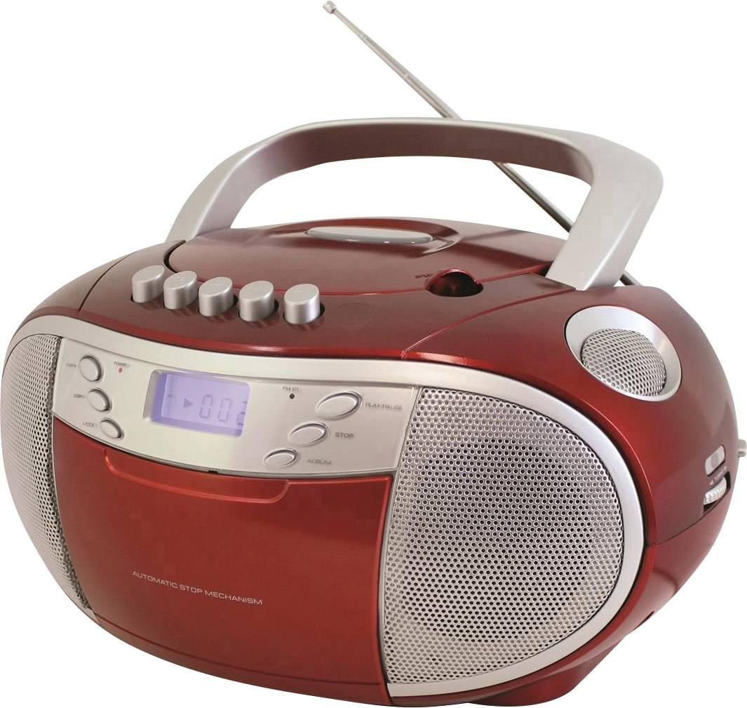 FM CD rádio SoundMaster SCD6900RO, CD, kazeta, SV, FM, červená