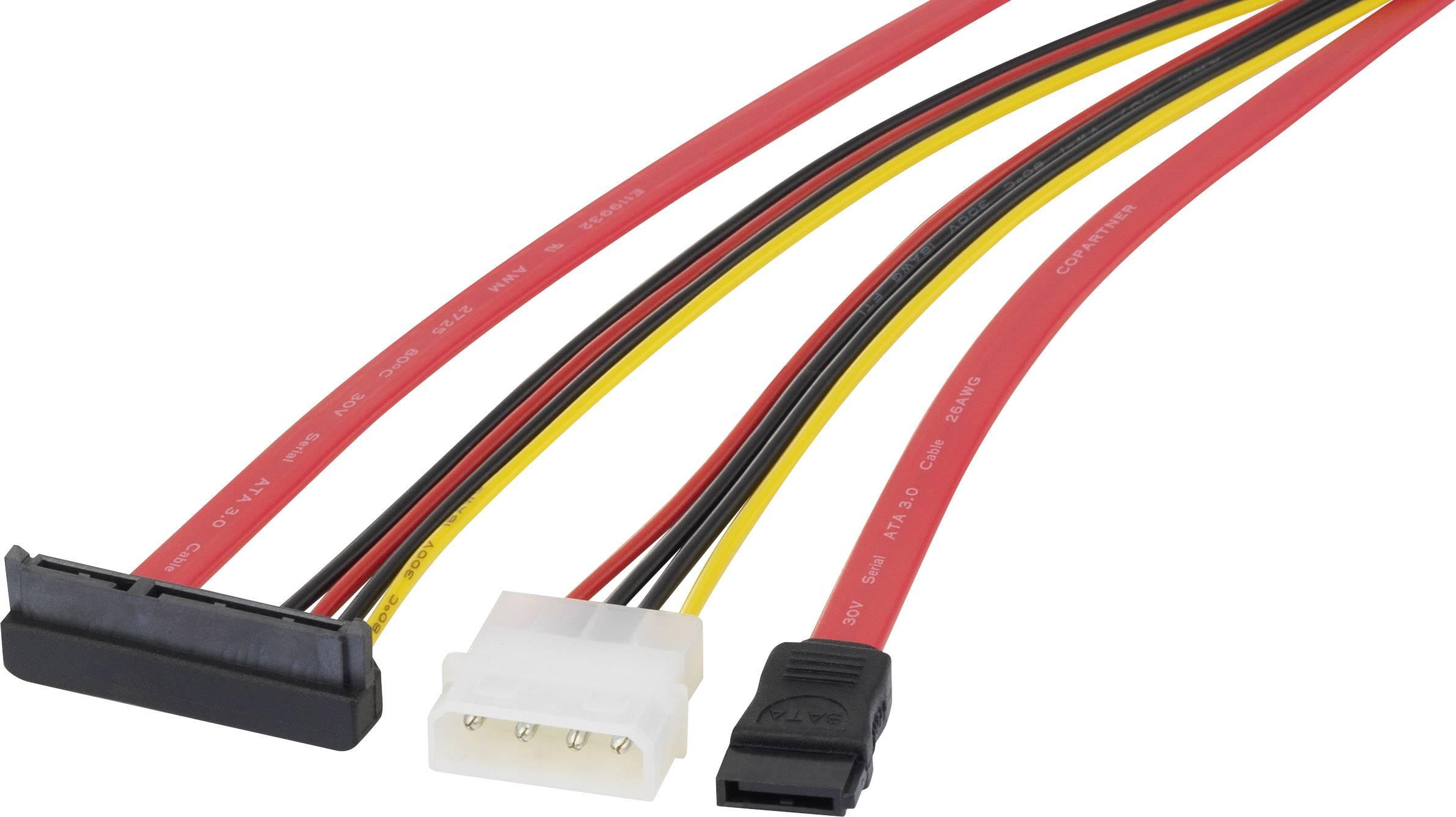 Prepojovací kábel pevný disk Renkforce RF-4212165, čierna, červená, žltá