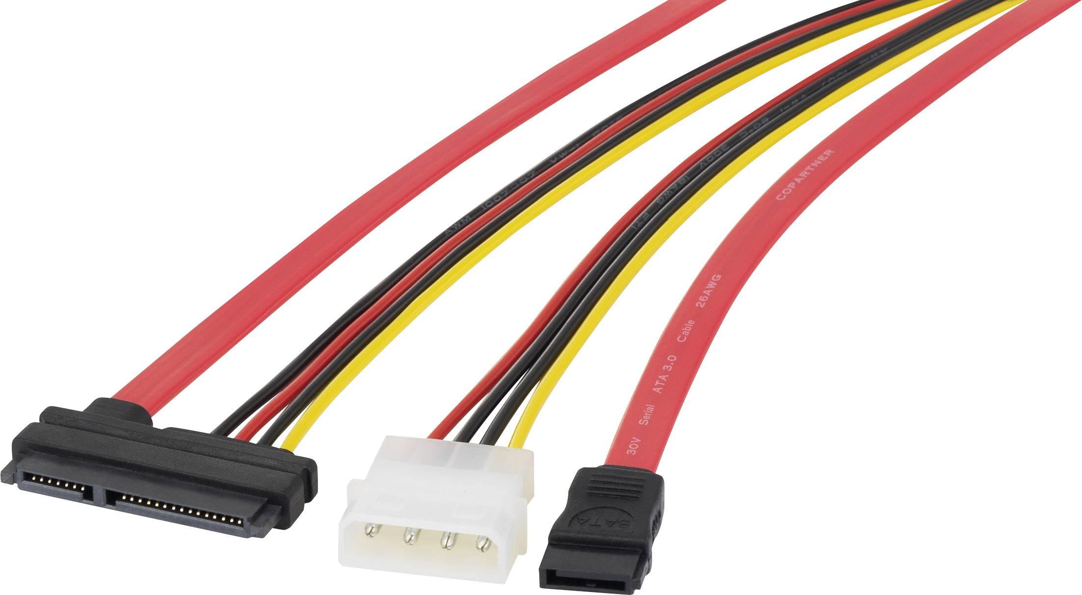 SATA II, IDE prepojovací kábel Renkforce RF-4212171, čierna, červená, žltá