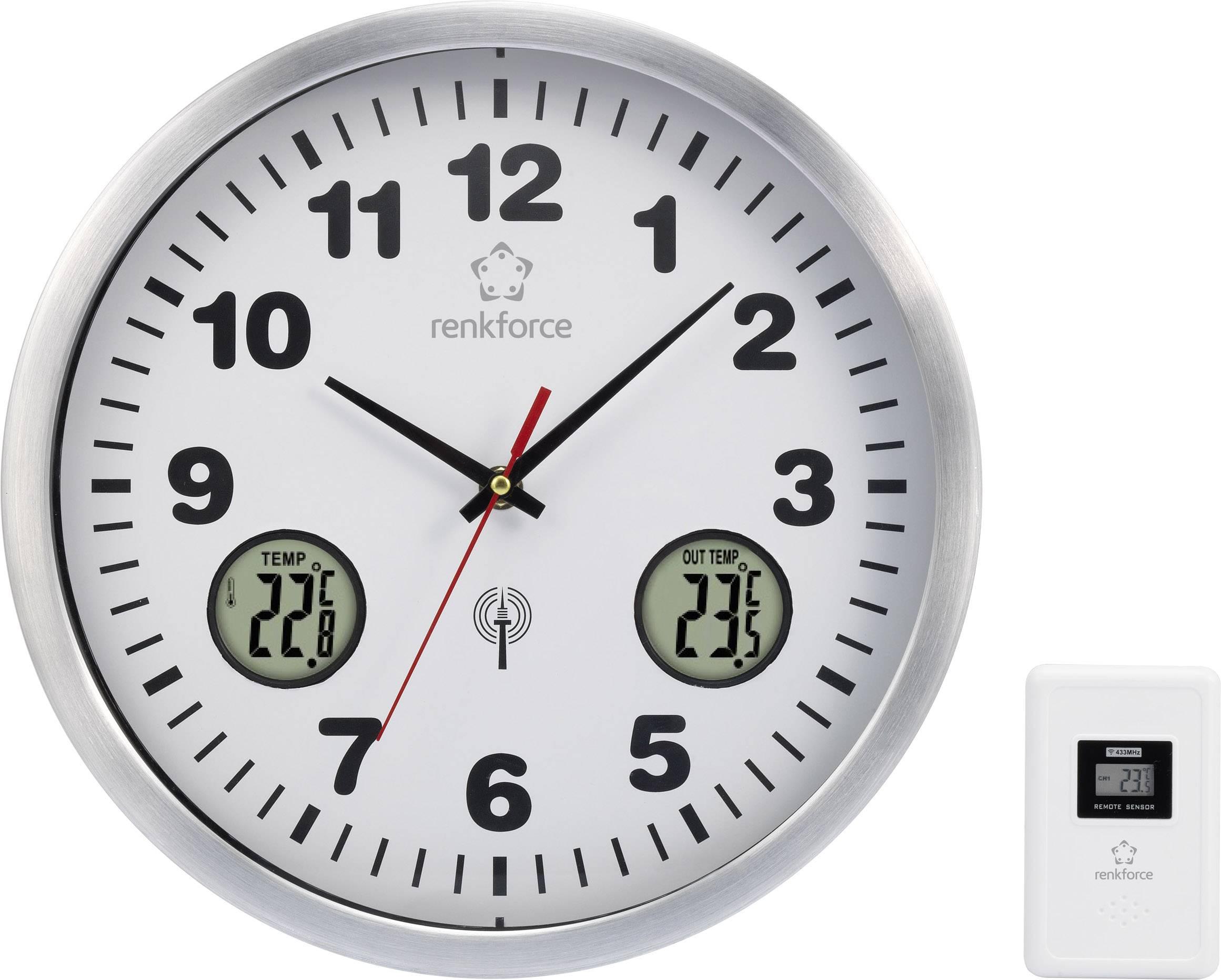 DCF nástenné hodiny RENKFORCE E1522TR, hliník, 30 cm