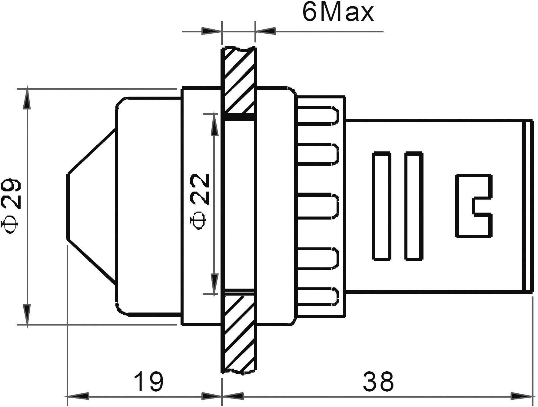 LED signálka AD16-22HS/12V/R, LED signálka, 12 V/DC / 12 V/AC, červená