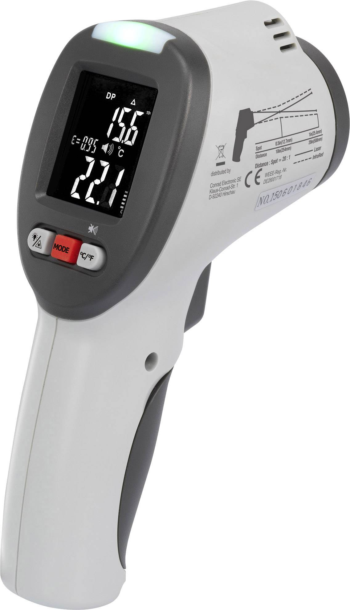 Infračervený teplomer VOLTCRAFT IR-SCAN-350RH/2, Optika 20:1, -50 do +380 °C