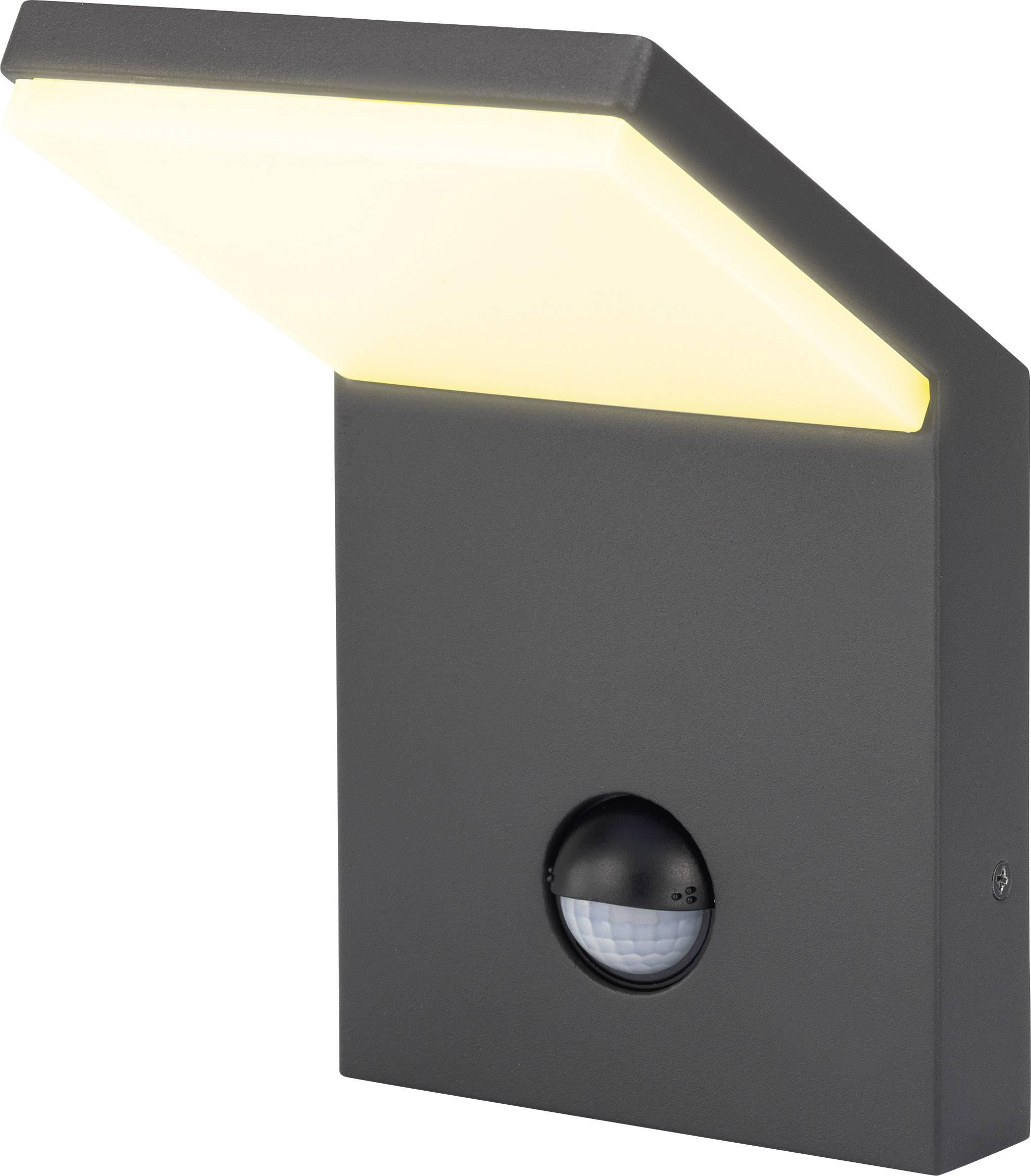 LEDvonkajšienástennéosvetleniesPIR senzorom 9.5 W teplá biela Renkforce Bilbao 1406152