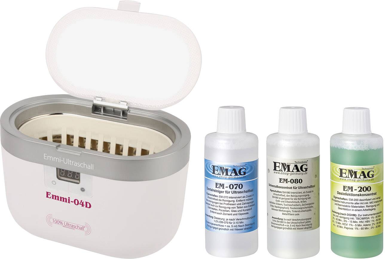 Ultrazvukový čistič vr. koncentrátu na čistenie Emag 0.6 l, (LxBxT)160 x 90 x 50 mm