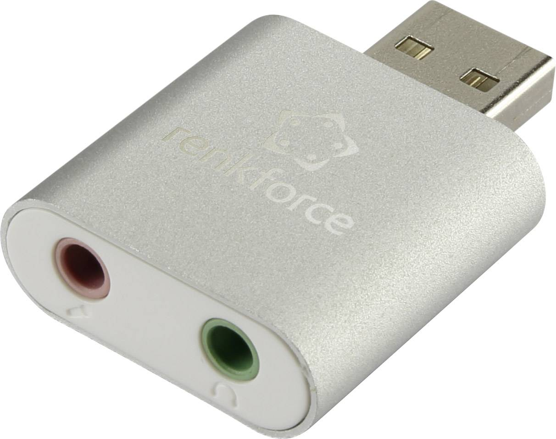 USB externí zvuková karta Renkforce, hliník