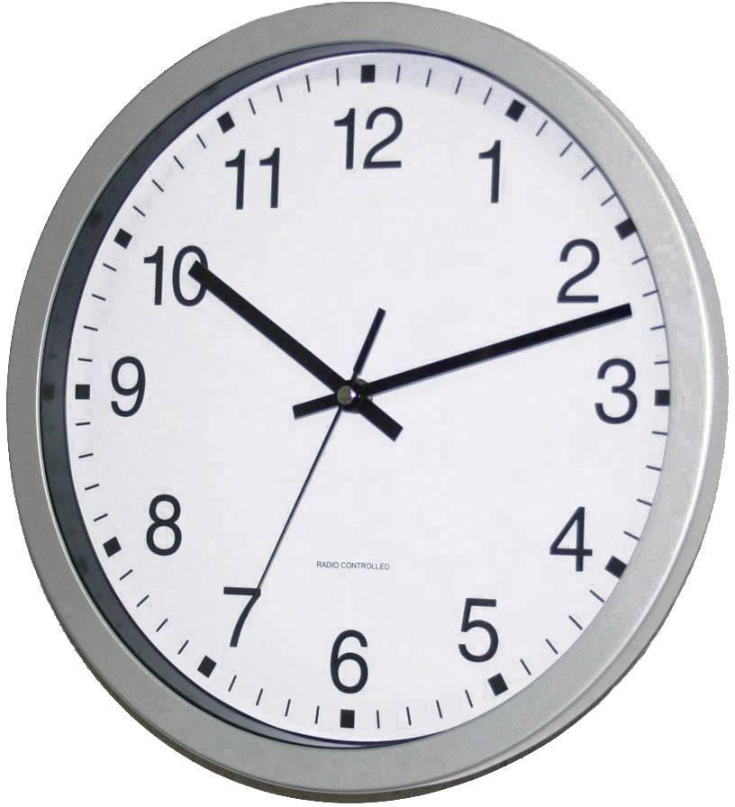 DCF nástenné hodiny EuroTime Bahnhofsuhr 56831-07, Ø 30 cm, strieborná