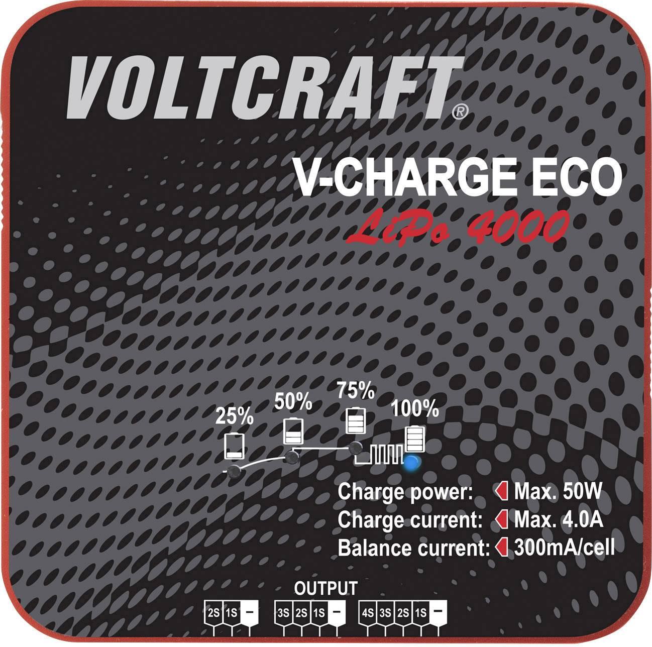 Modelářská nabíječka VOLTCRAFT V-Charge Eco LiPo 4000 1406443, 230 V, 115 V, 4 A