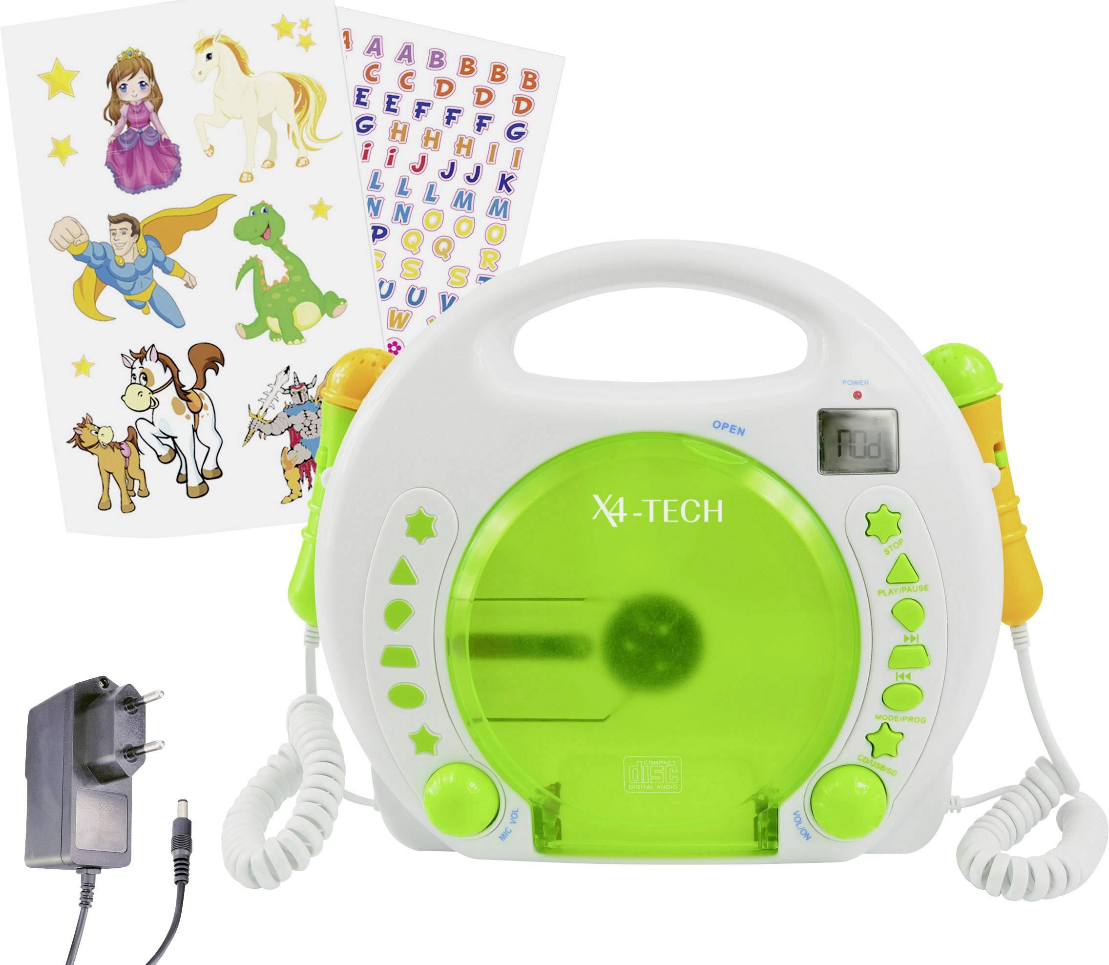 Dětský CD přehrávač X4 Tech Bobby Joey CD, SD, USB vč. karaoke, včetně mikrofonu, bílá, zelená