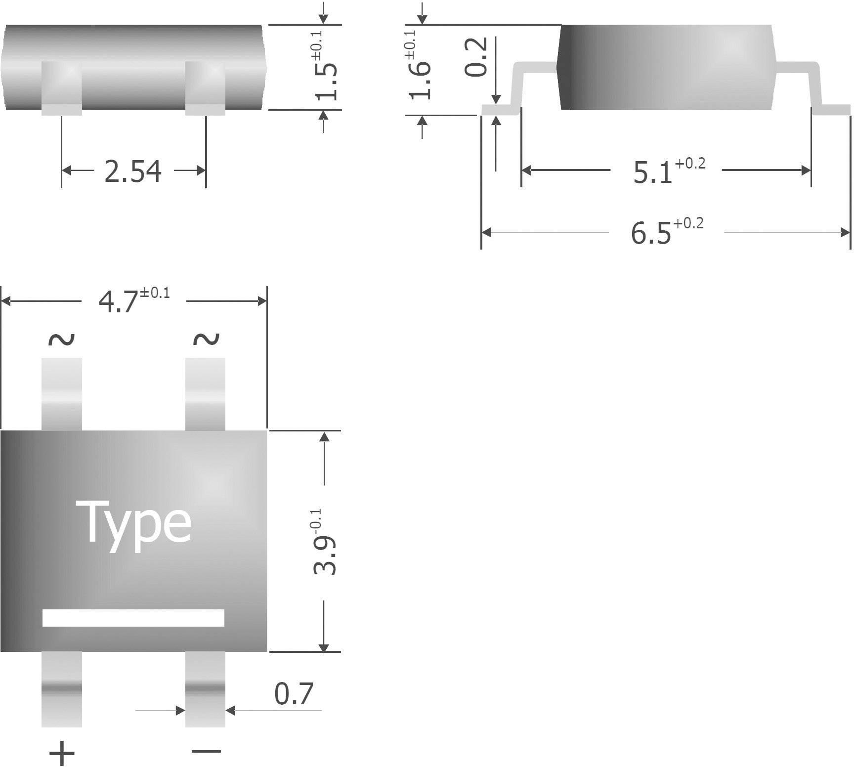 Křemíkový můstkový usměrňovač Diotec S380-SLIM, U(RRM) 800 V, 800 mA, TO-269