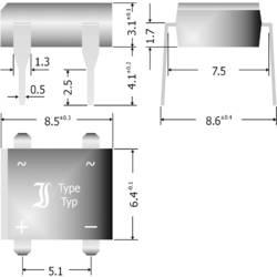 Křemíkový můstkový usměrňovač Diotec B380D, U(RRM) 800 V, 1 A, DIL (rastr 7,5 x 5,1 mm)