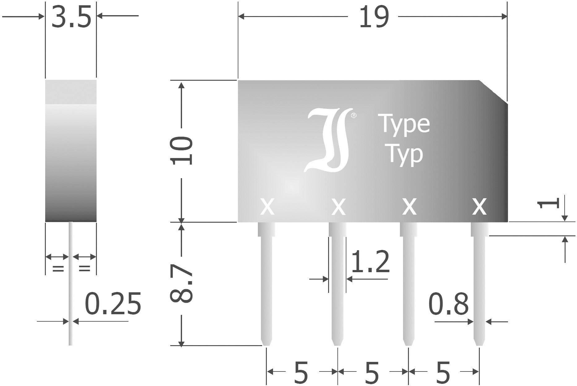 Křemíkový můstkový usměrňovač Diotec B80C2300-1500B, U(RRM) 160 V, 1,5 A, SIL