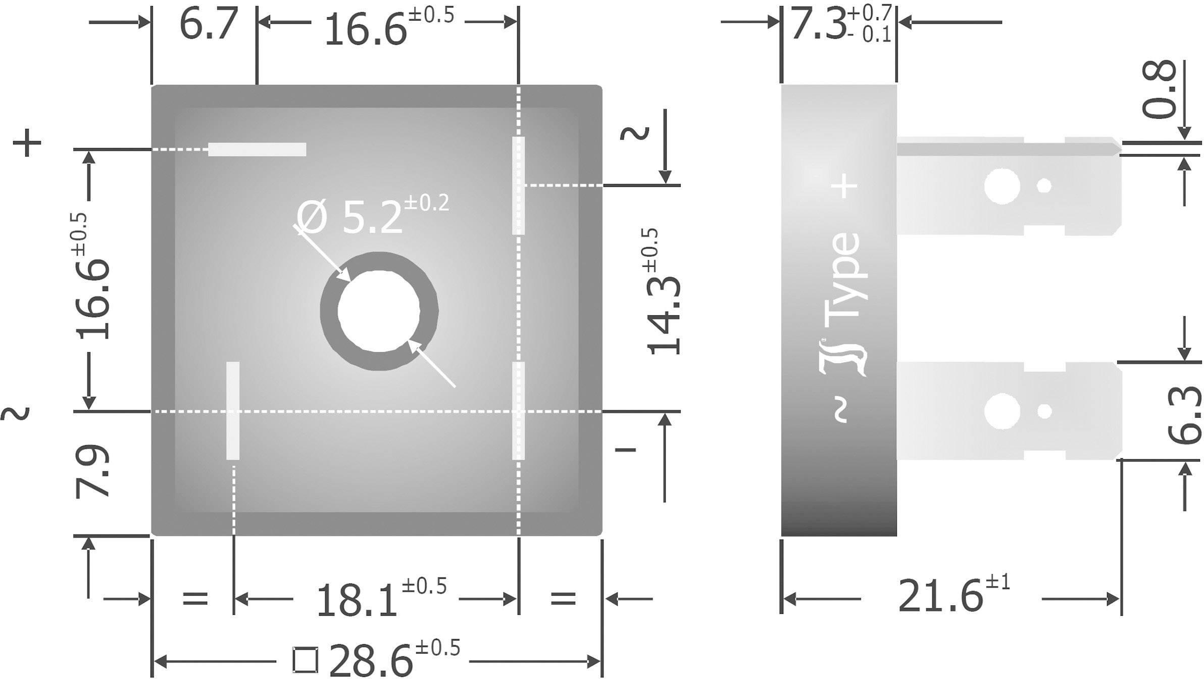 Křemíkový můstkový usměrňovač Diotec KBPC3510FP, U(RRM) 1000 V, 35 A, Plast