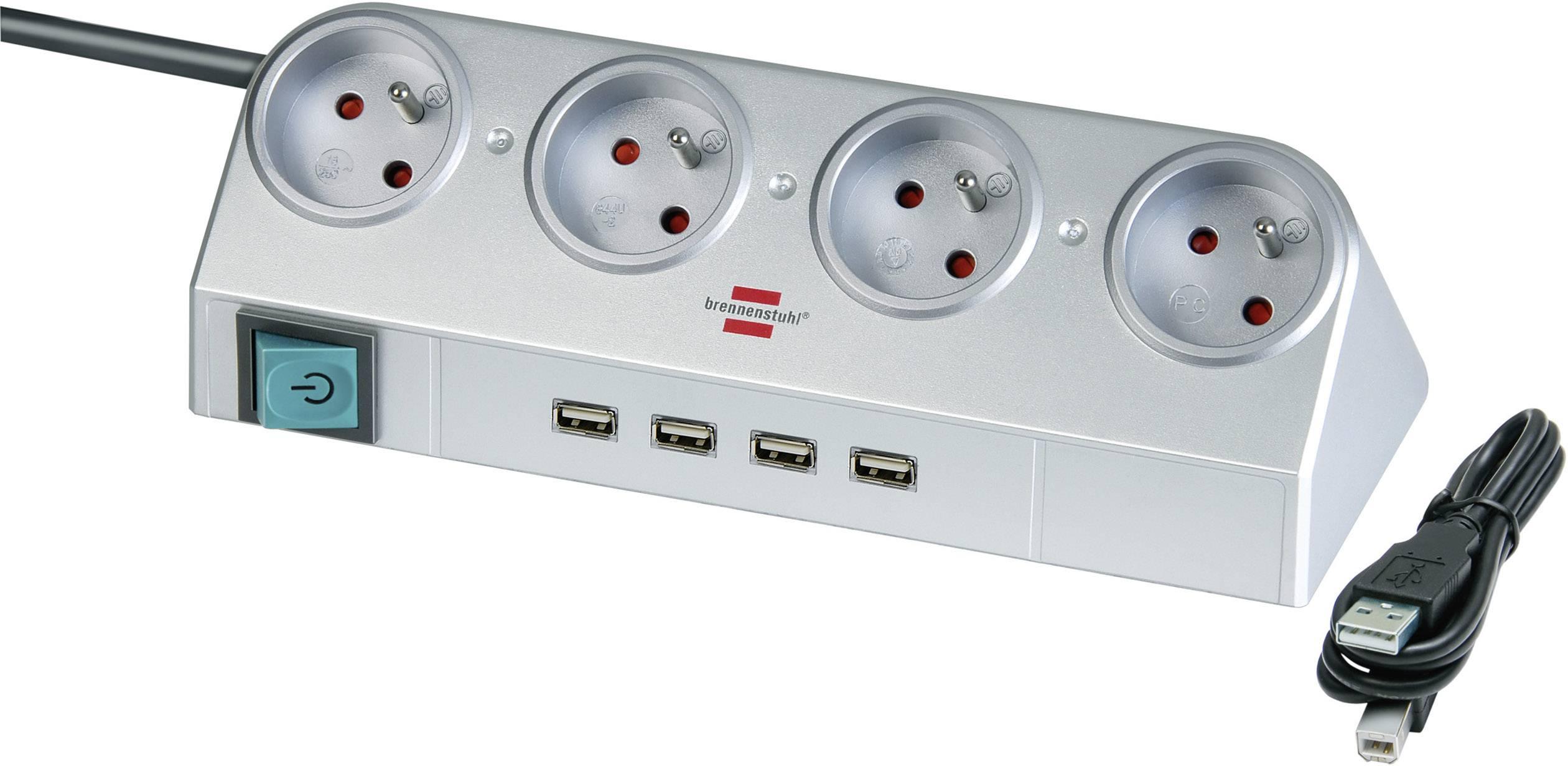 Zásuvková lišta Brennenstuhl 1153541134, master / slave, 4x, USB hub, CZ