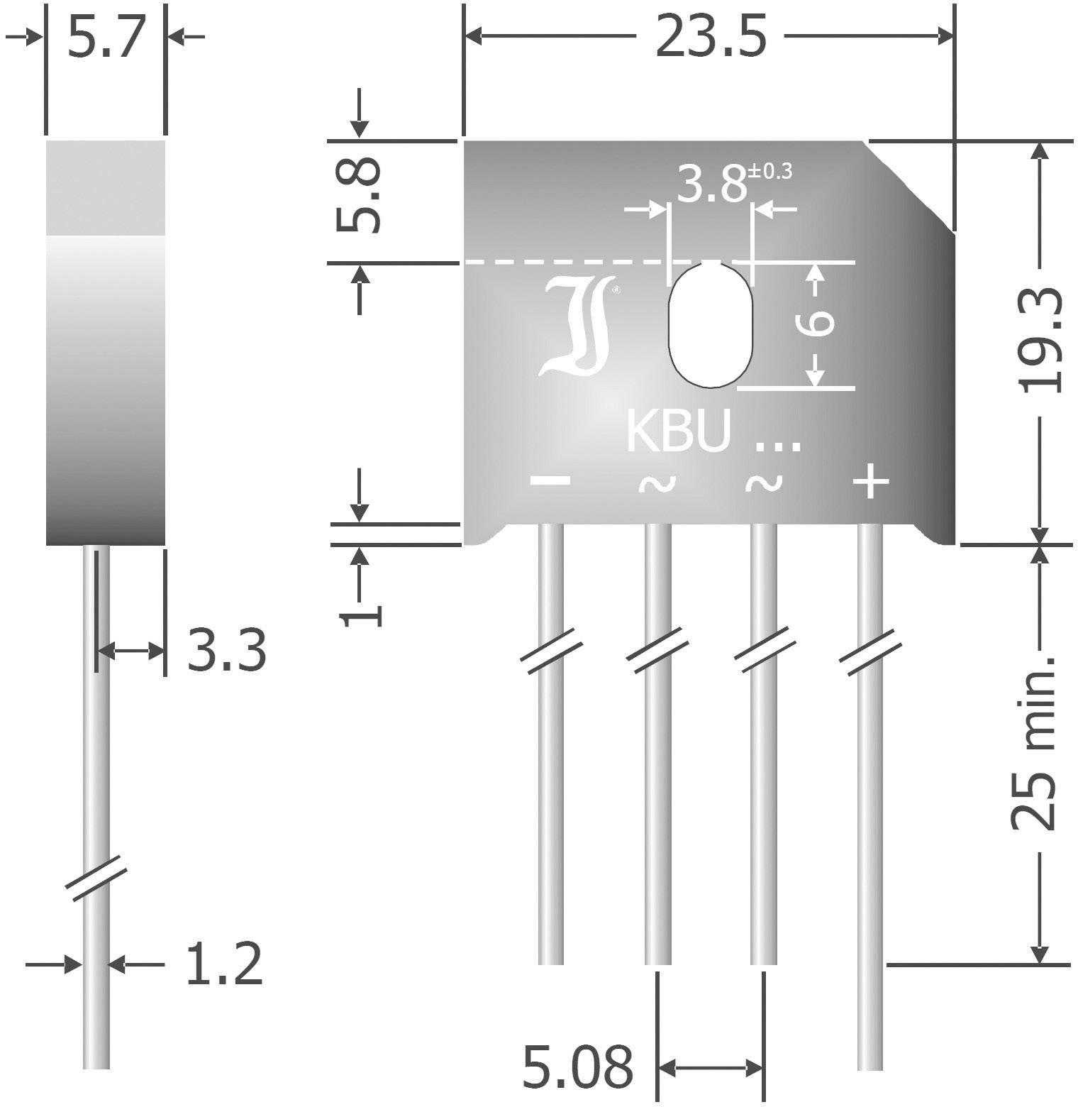 Křemíkový můstkový usměrňovač Diotec KBU12K, U(RRM) 800 V, 12 A, SIL