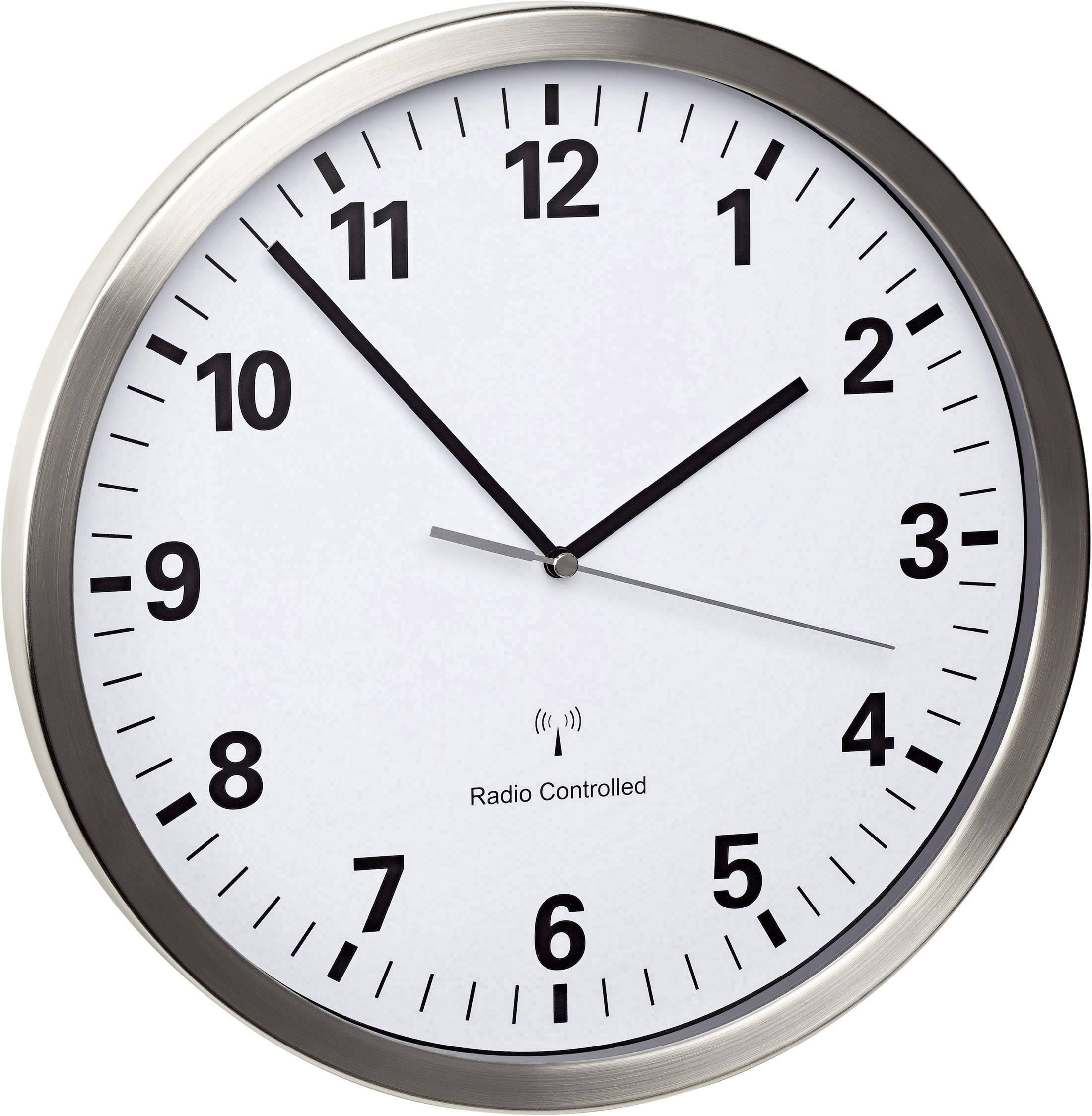 DCF nástěnné hodiny TFA 60.3523.02, (Ø x h) 30,5 x 4,3 cm, nerezová ocel