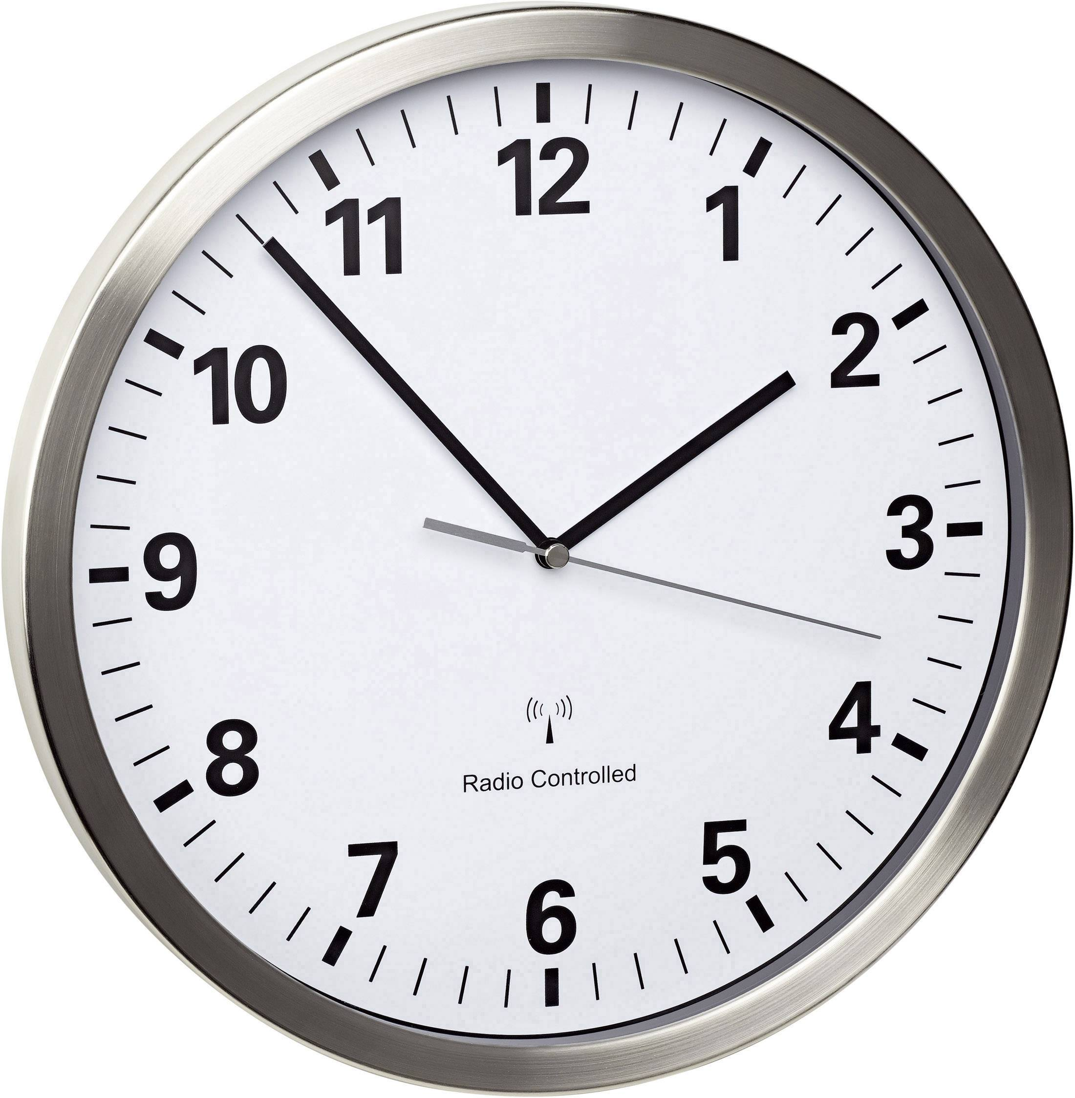 DCF nástenné hodiny TFA Funk-Wanduhr 60.3523.02, vonkajší Ø 30.5 cm, nerezová oceľ