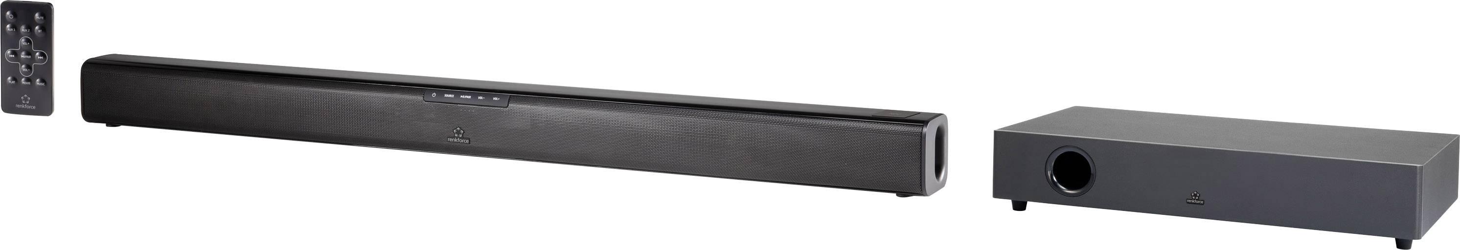 Soundbar Renkforce TB230WW s optickým vstupom, vr. bezdrôtového subwooferu, Bluetooth®, NFC, upevnenie na stenu