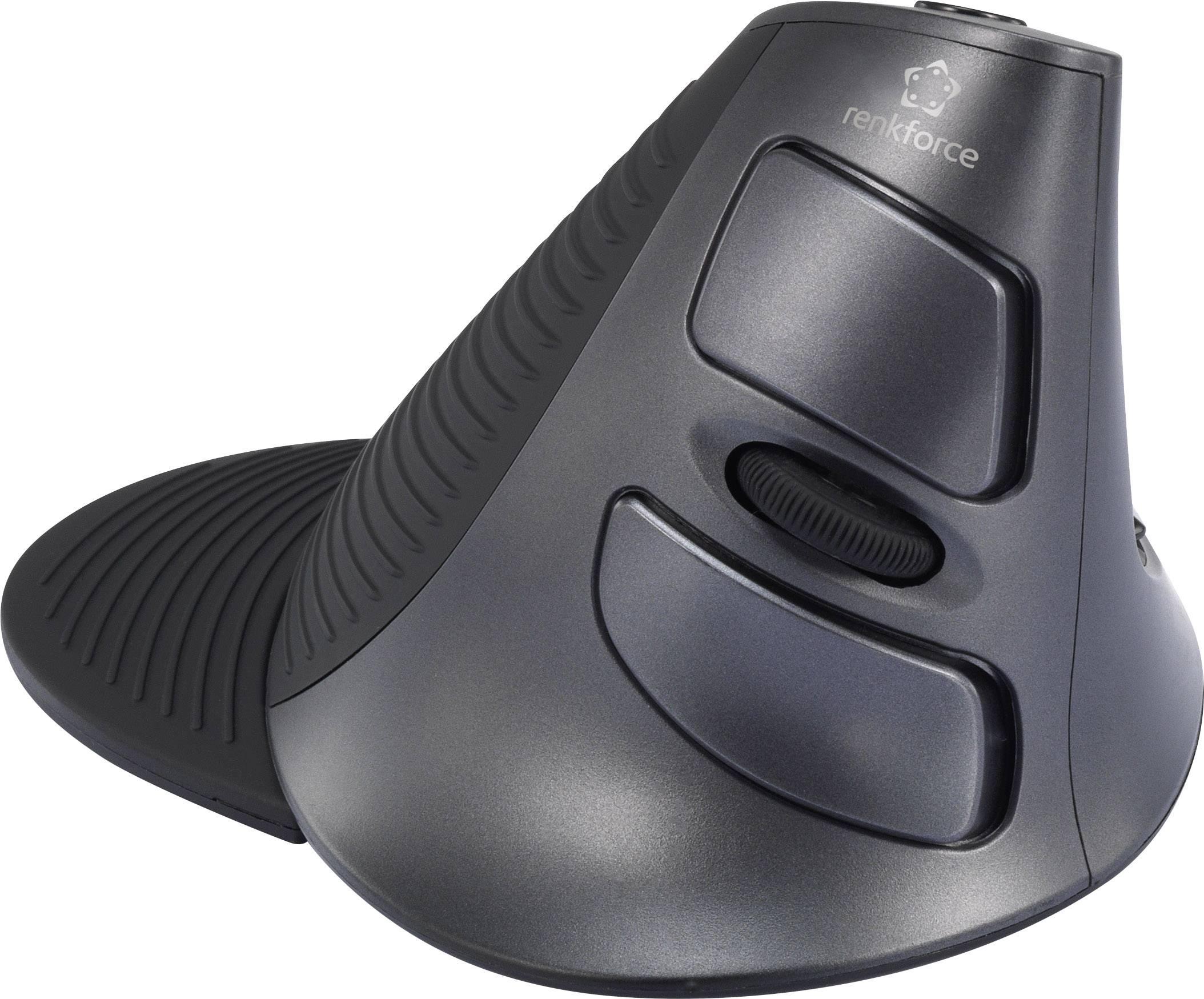 Ergonomická bezdrôtová myš laserový/á Renkforce M618GL RF-4222572, čierna