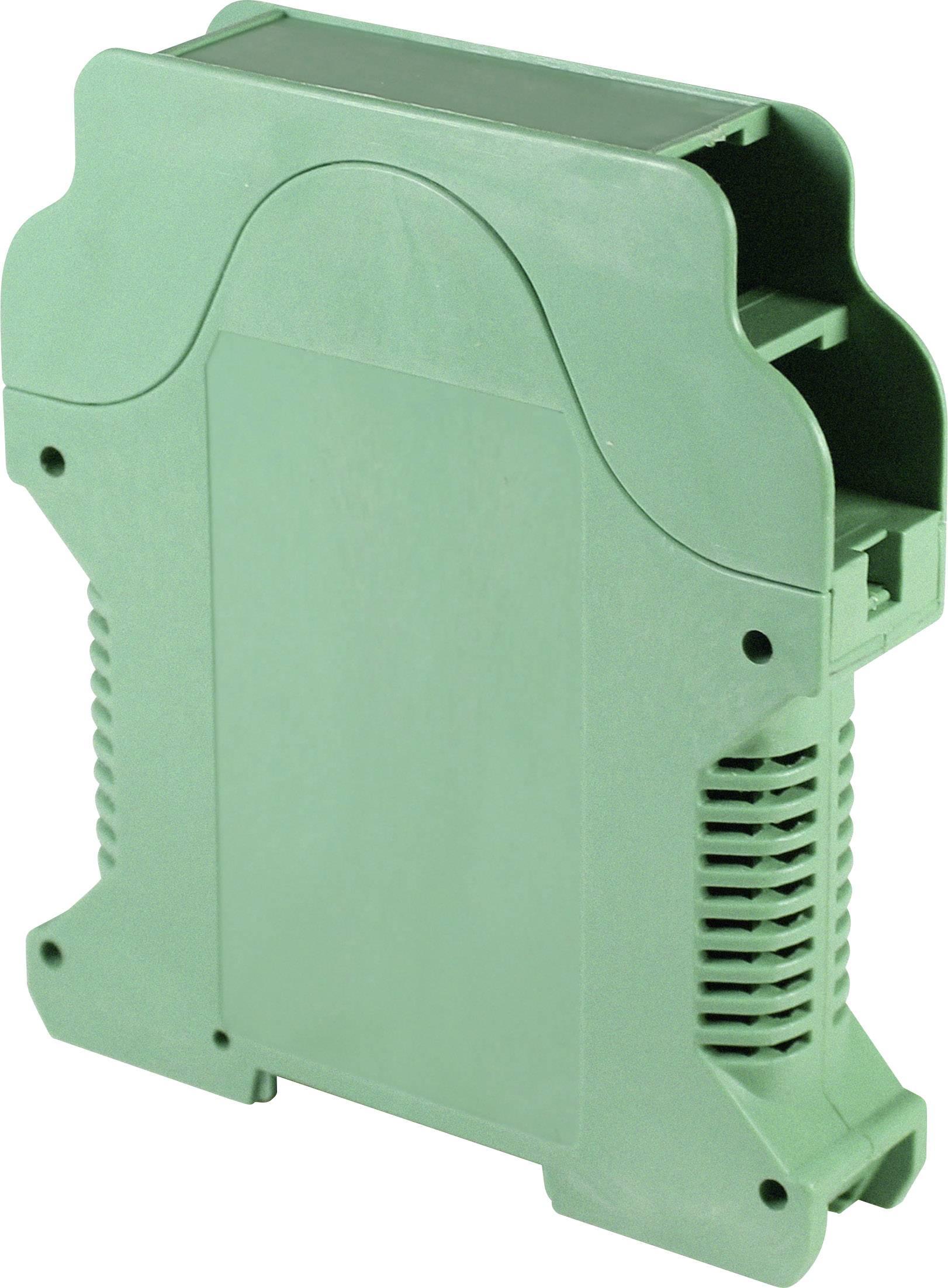 Pouzdro na DIN lištu Axxatronic CVB-PLUS1V-CON s větracími otvory, 112 x 99 x 22.5 , polyamid, zelená, 1 ks