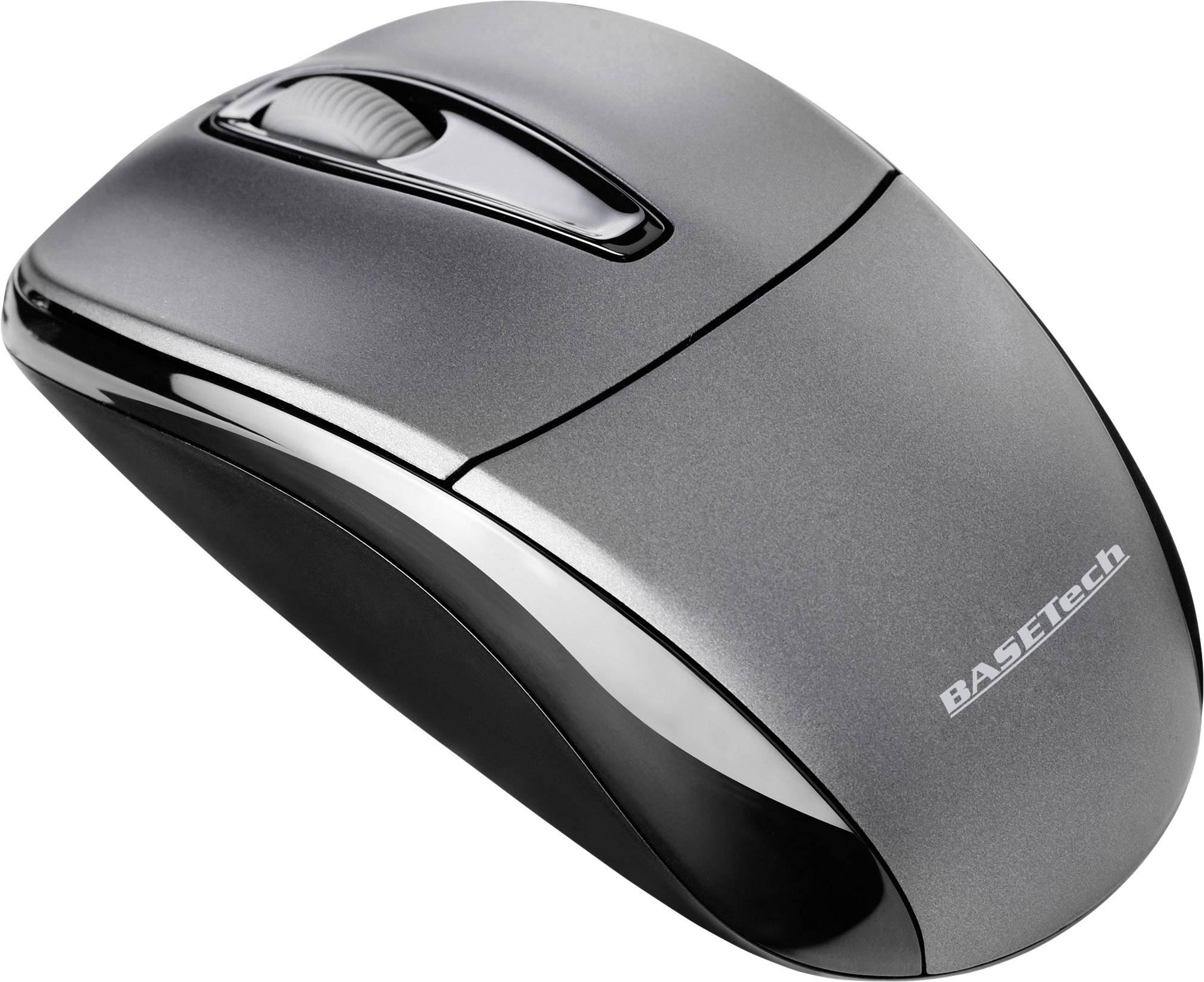 Optická bezdrôtová myš Basetech M105GX BT-1407913, čierna, sivá