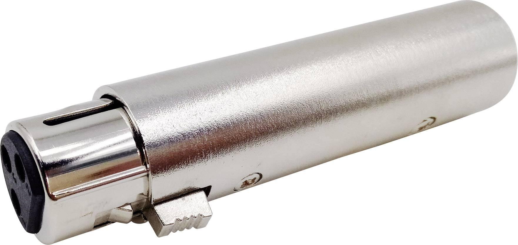 XLR adaptér Conrad Components, XLR zástrčka - XLR zásuvka, stereo, Pólů:3, 1 ks